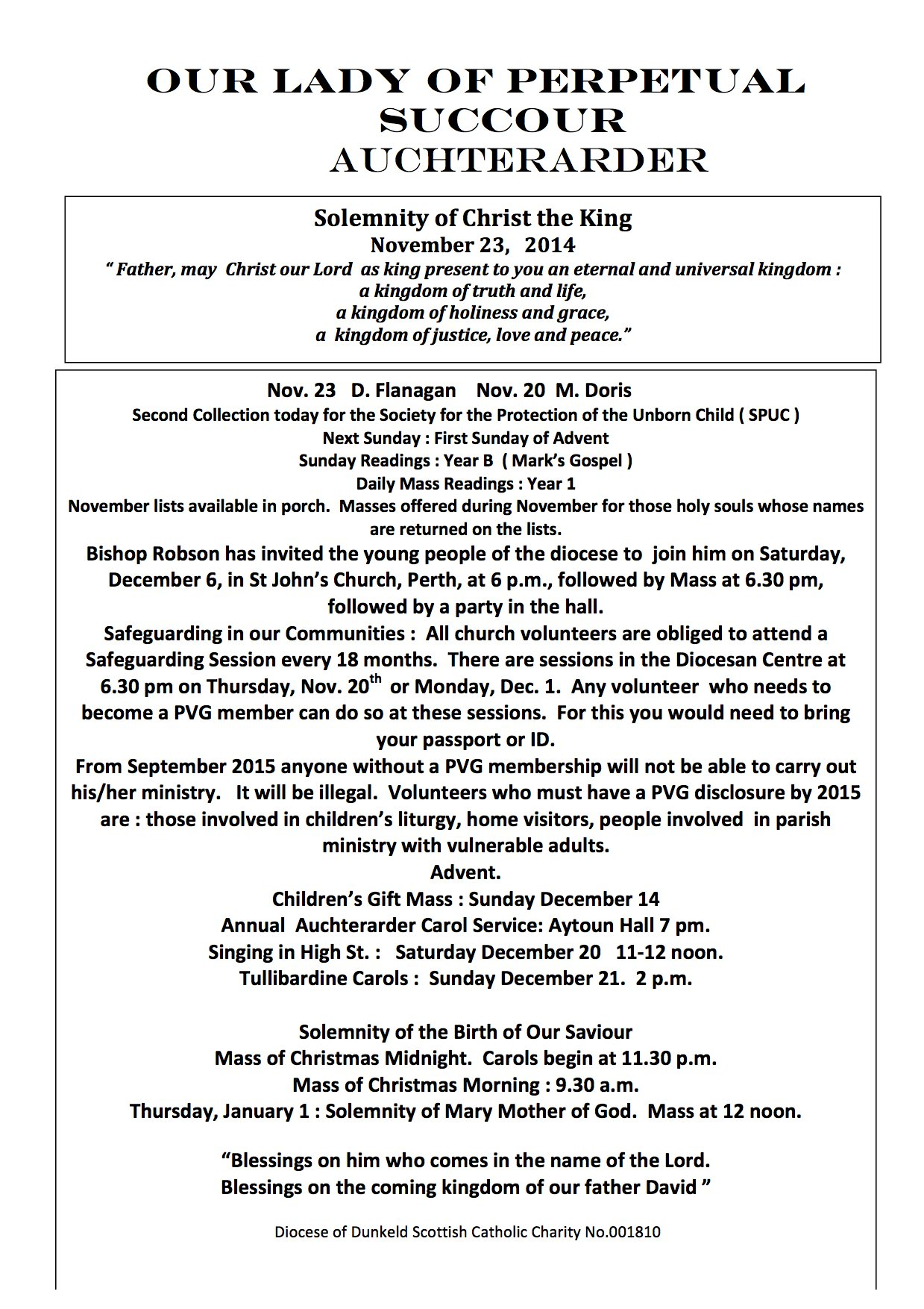 Parish Newsletter – 23/11/14