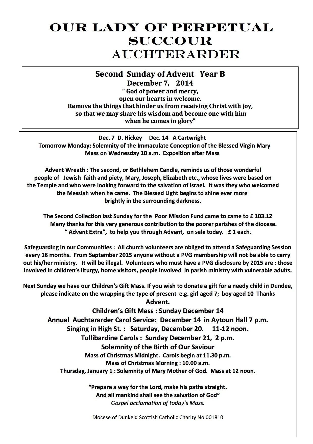 Parish Newsletter – 07/12/14