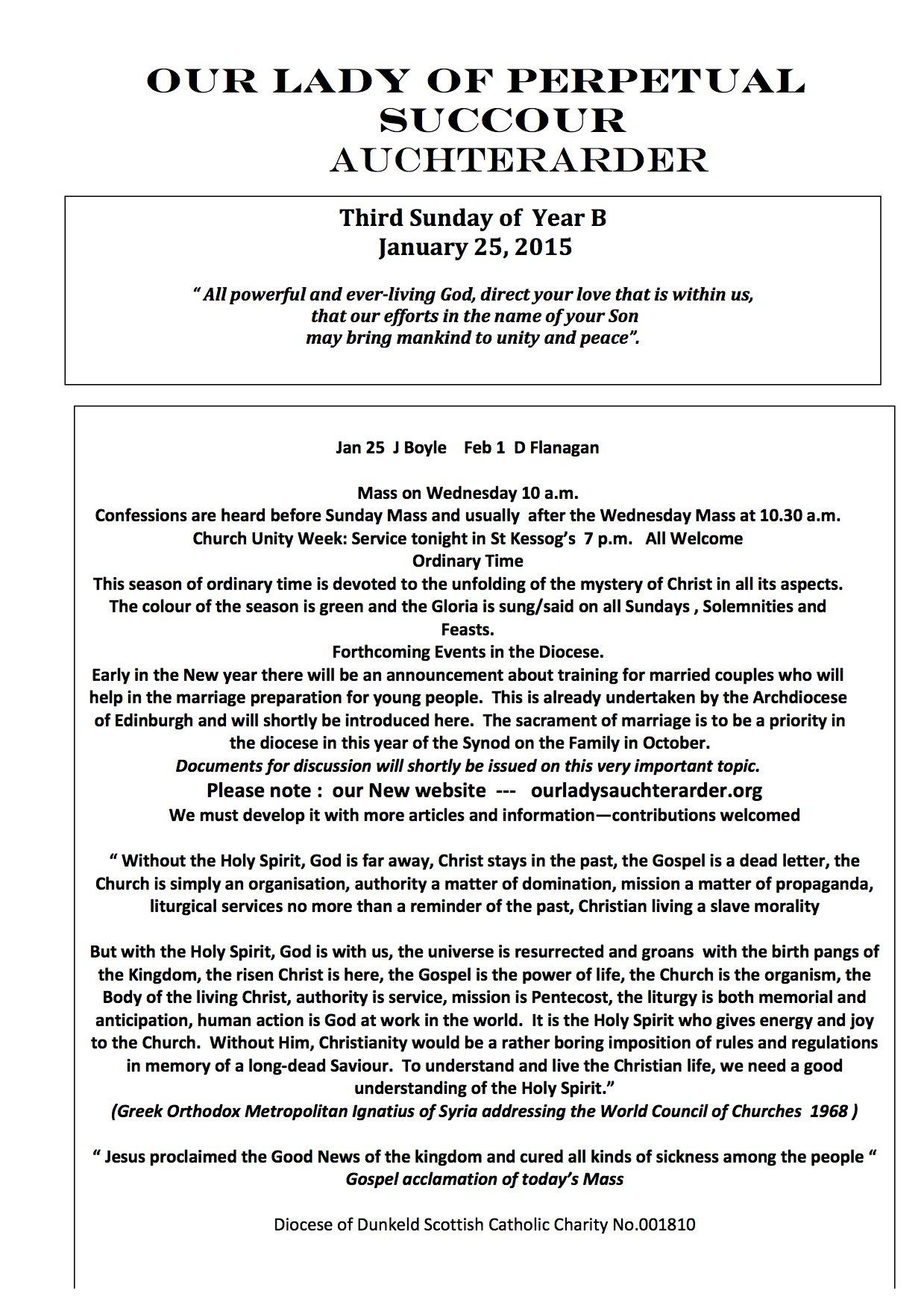 Parish Newsletter – 25/01/15