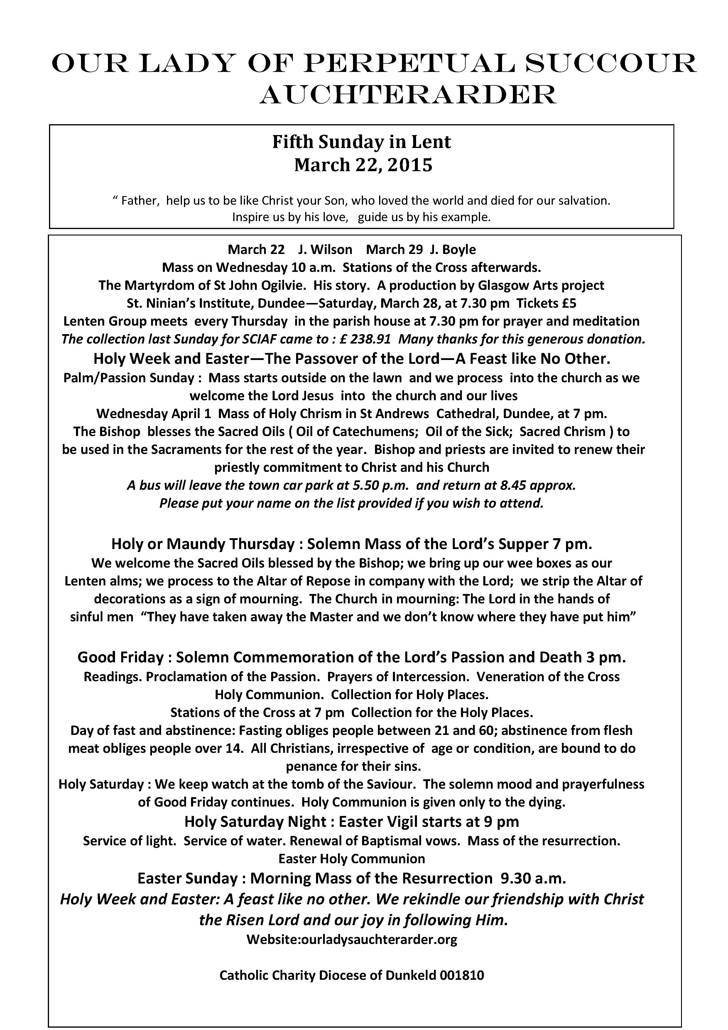 Parish Newsletter – 22/03/15
