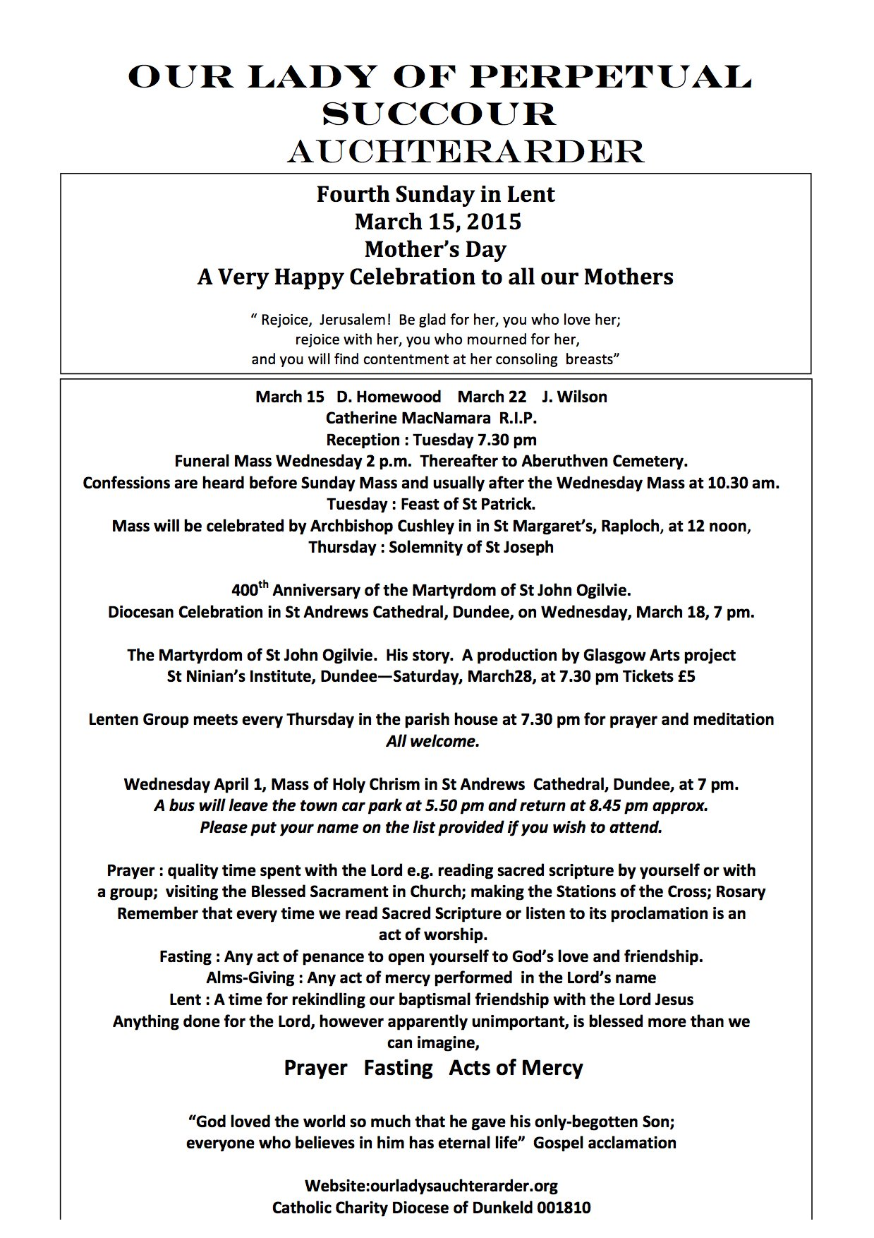 Parish Newsletter – 15/03/15