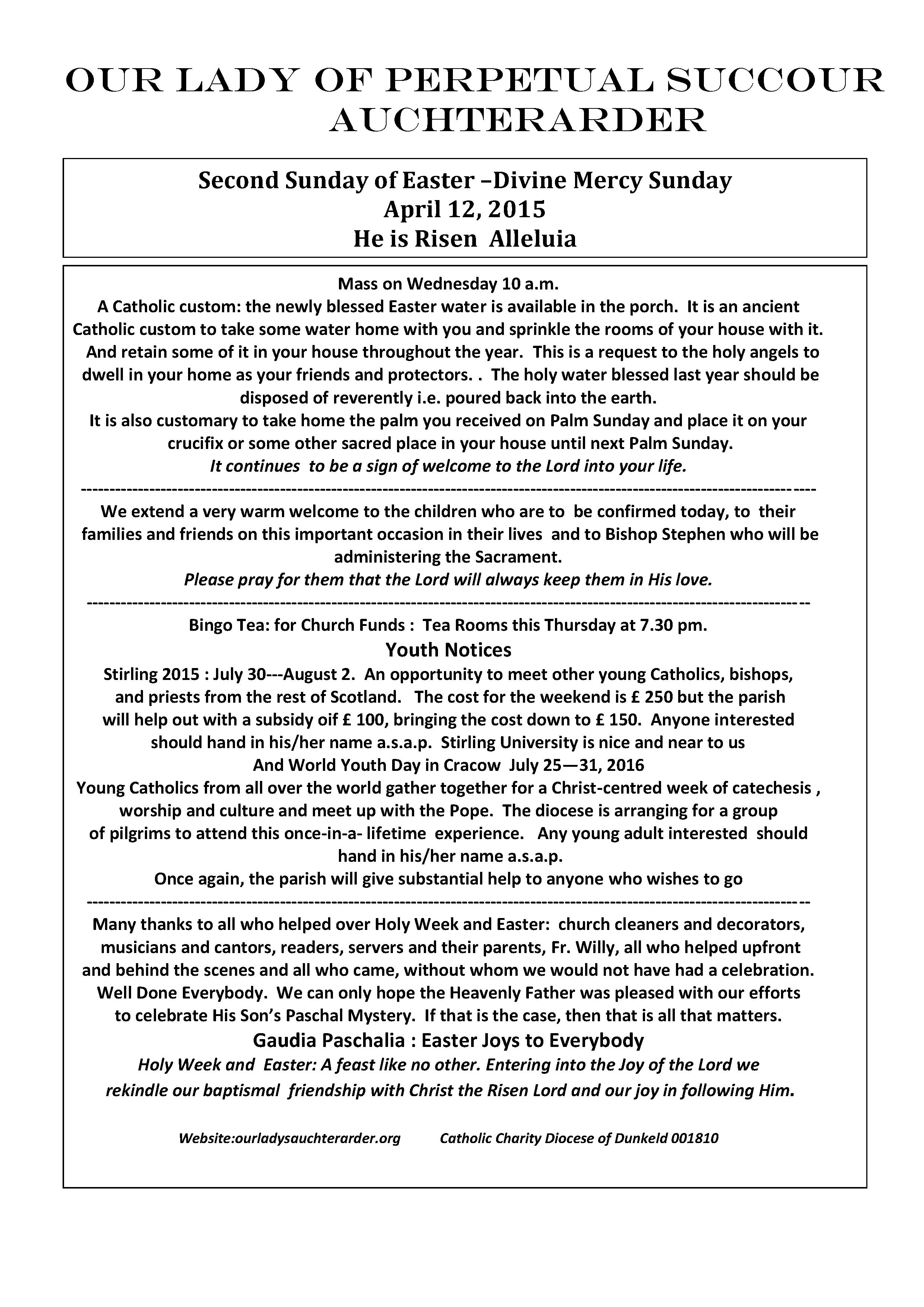 Parish Newsletter – 12/04/15