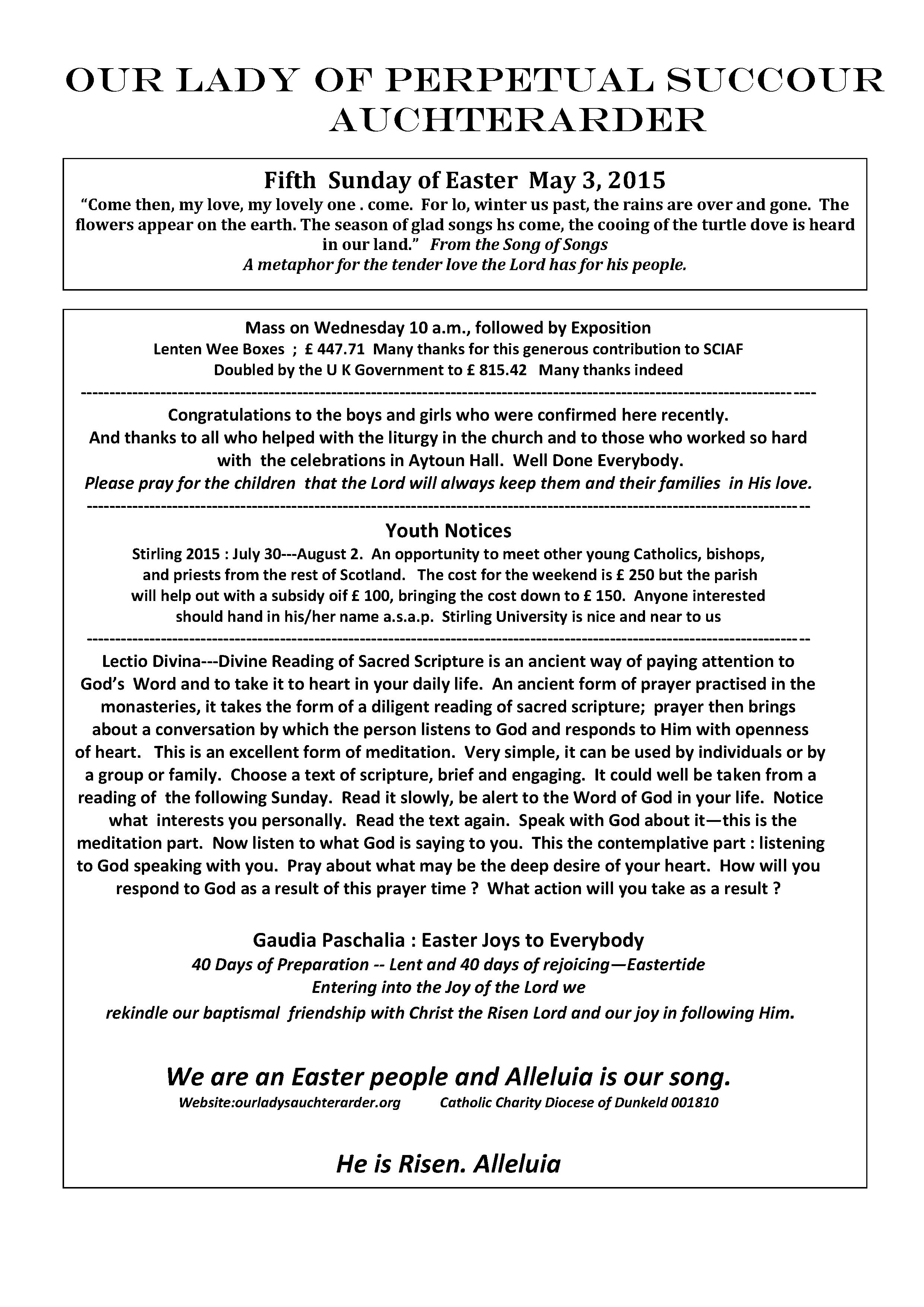 Parish Newsletter – 03/05/14
