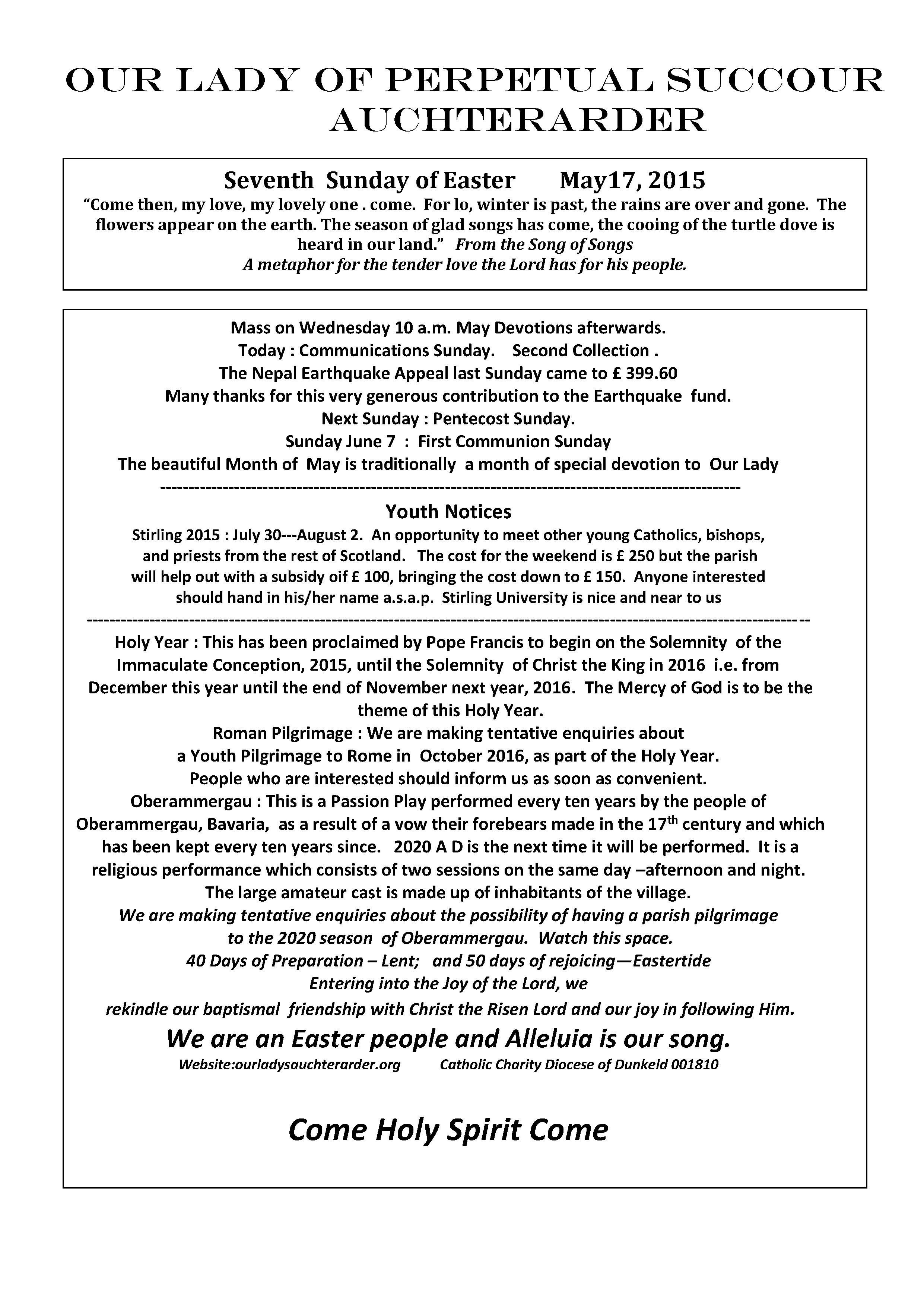 Parish Newsletter – 17/05/15
