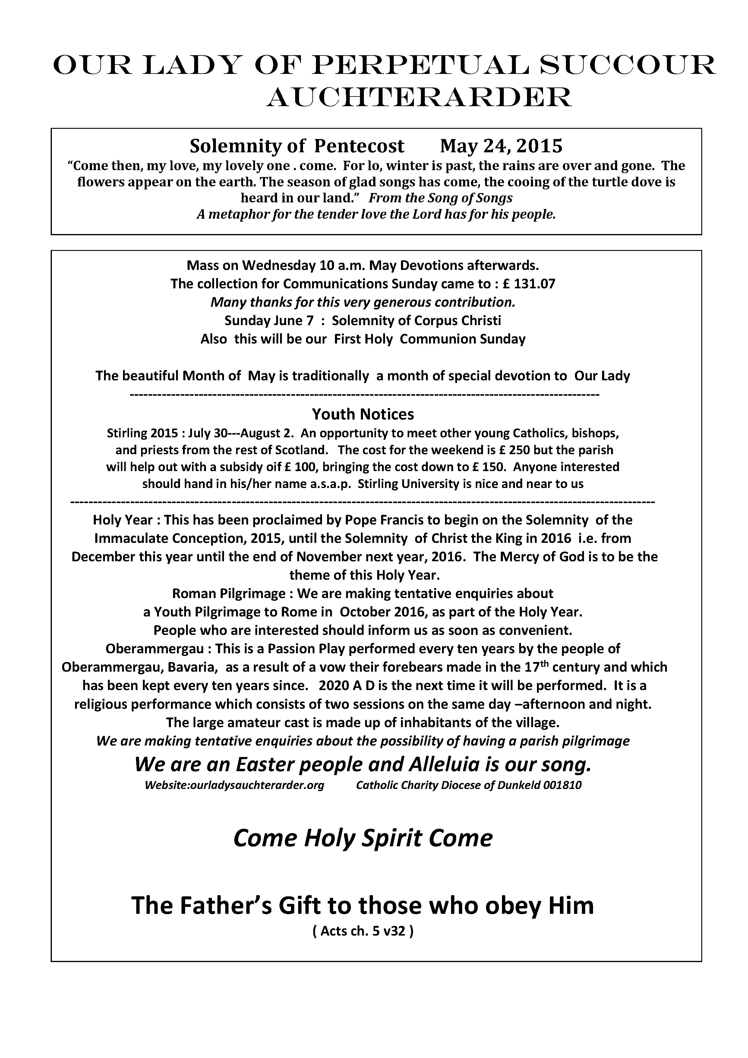 Parish Newsletter – 24/05/15