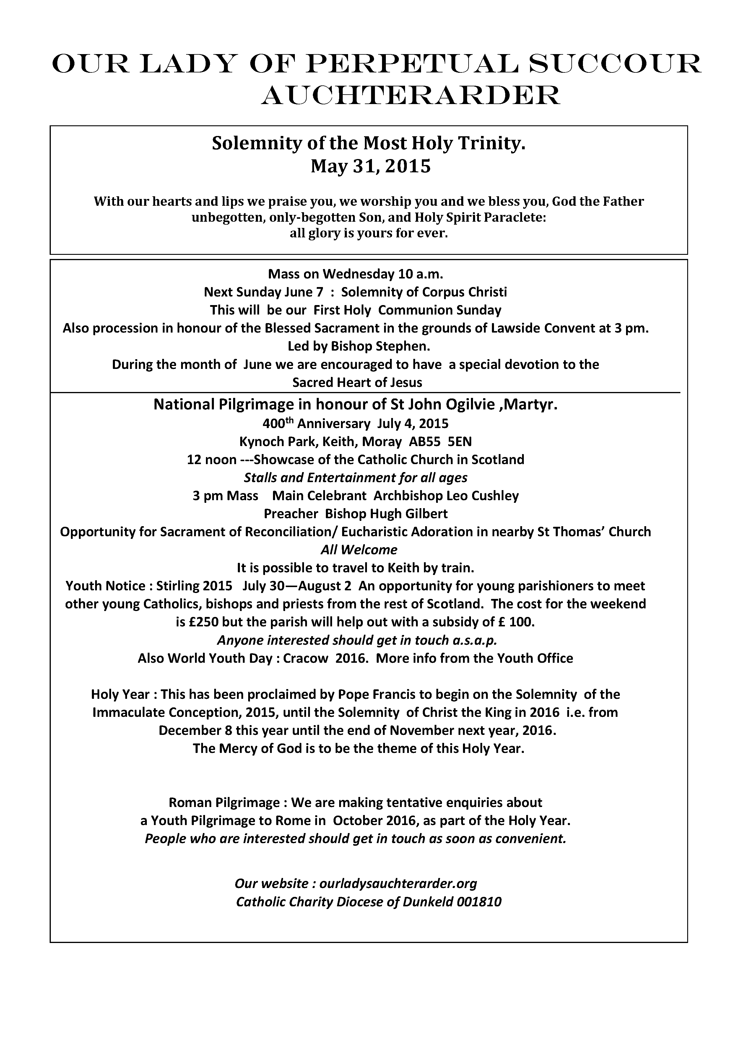 Parish Newsletter – 31/05/15