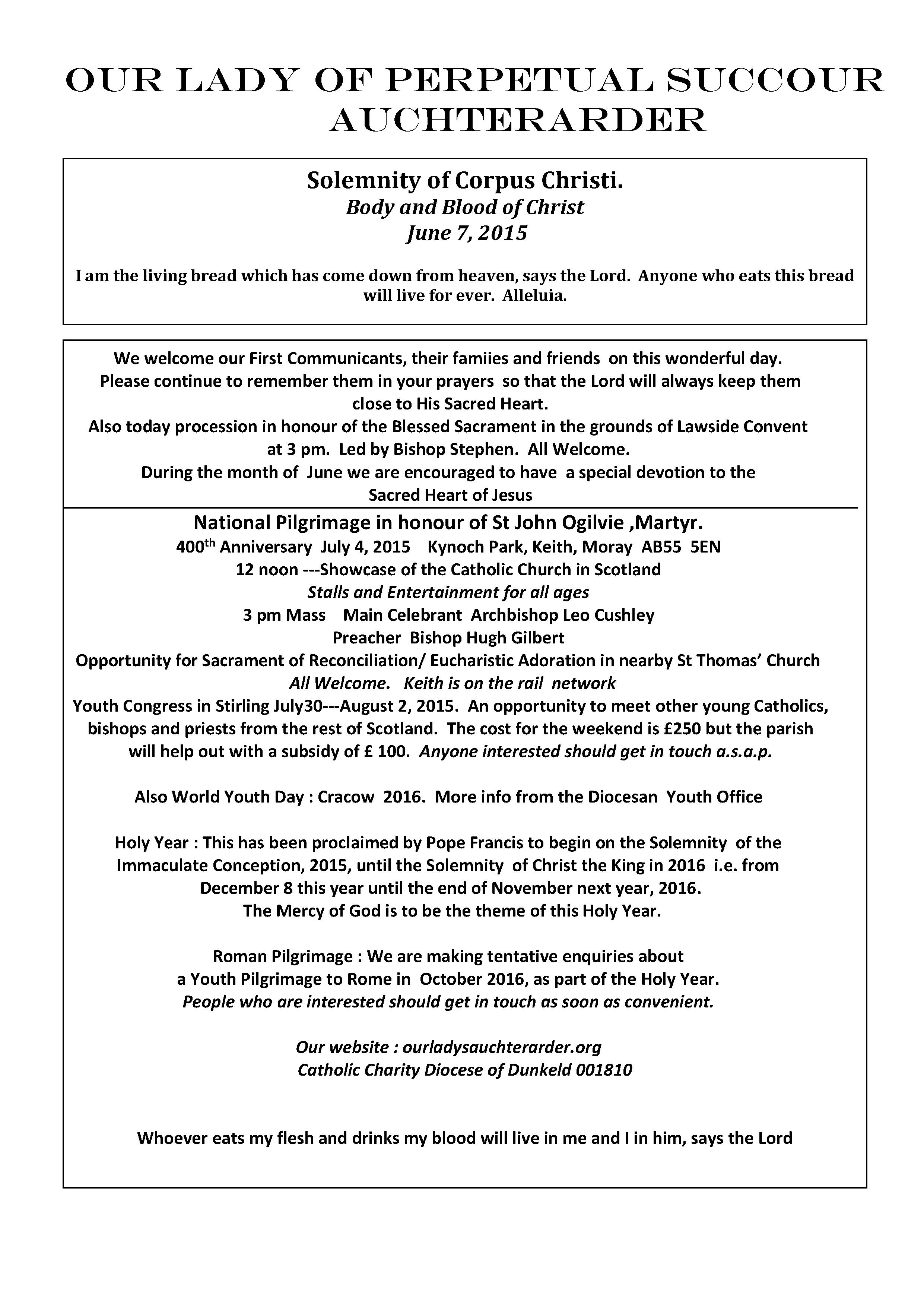 Parish Newsletter – 07/06/15