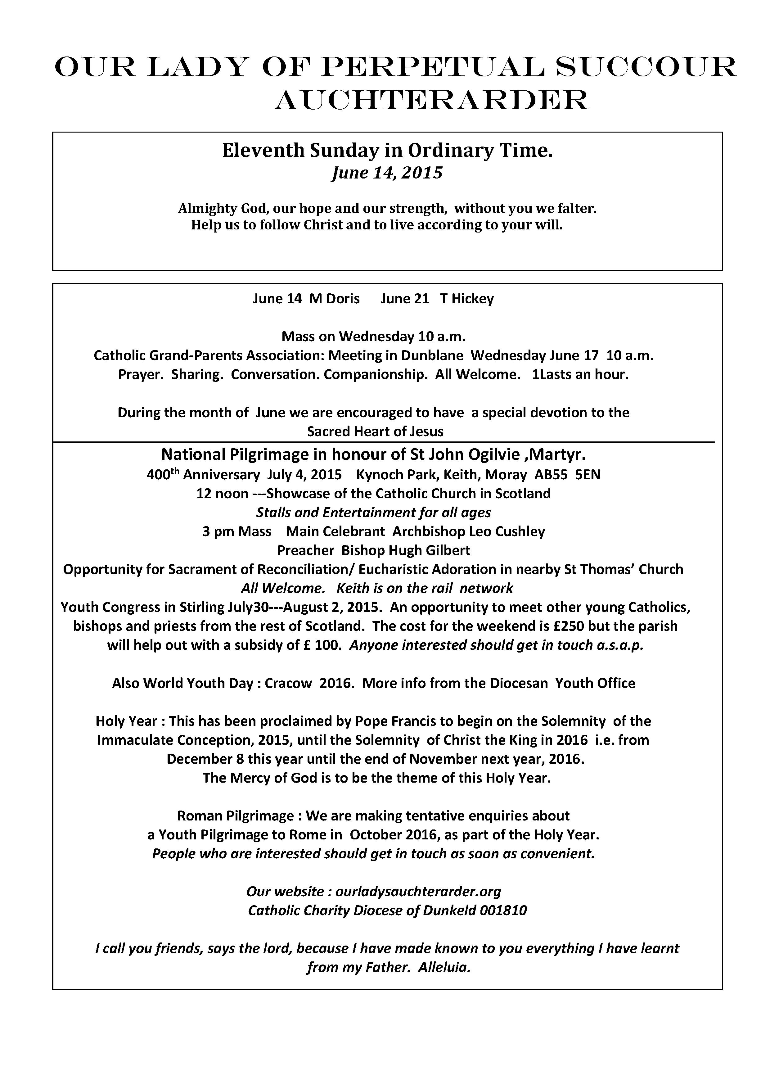 Parish Newsletter – 14/06/15