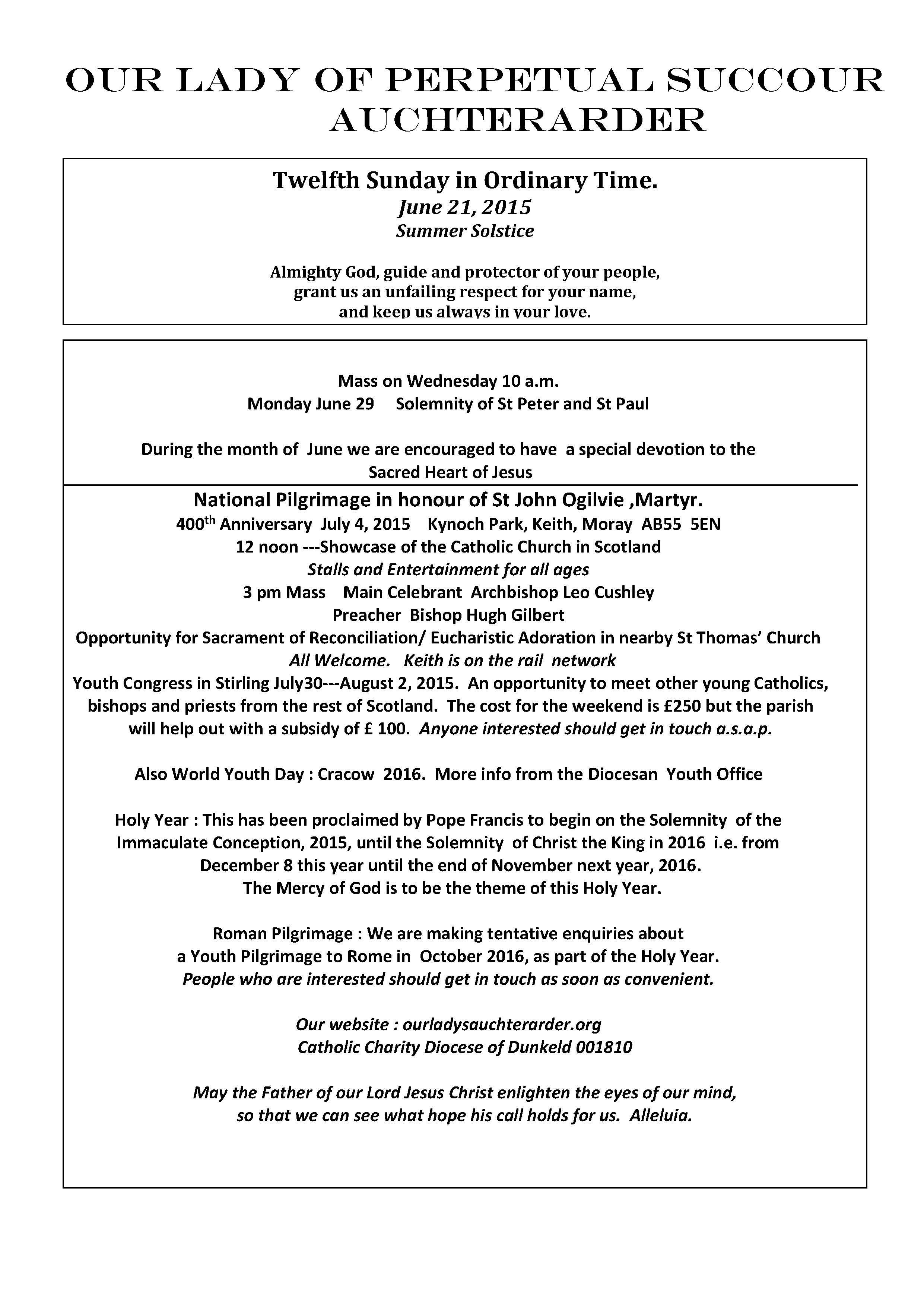 Parish Newsletter – 21/06/15