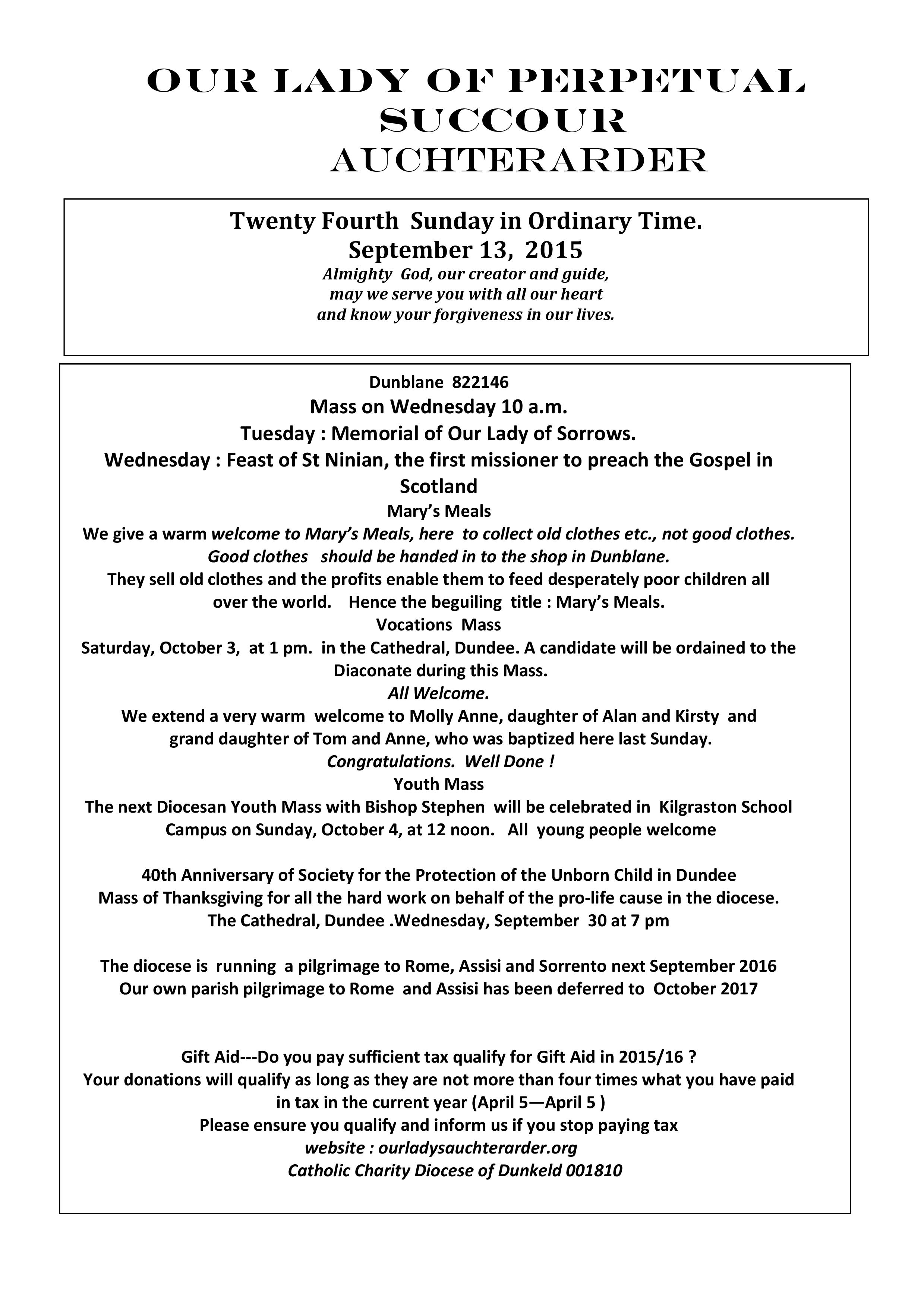 Parish Newsletter – 13/09/15