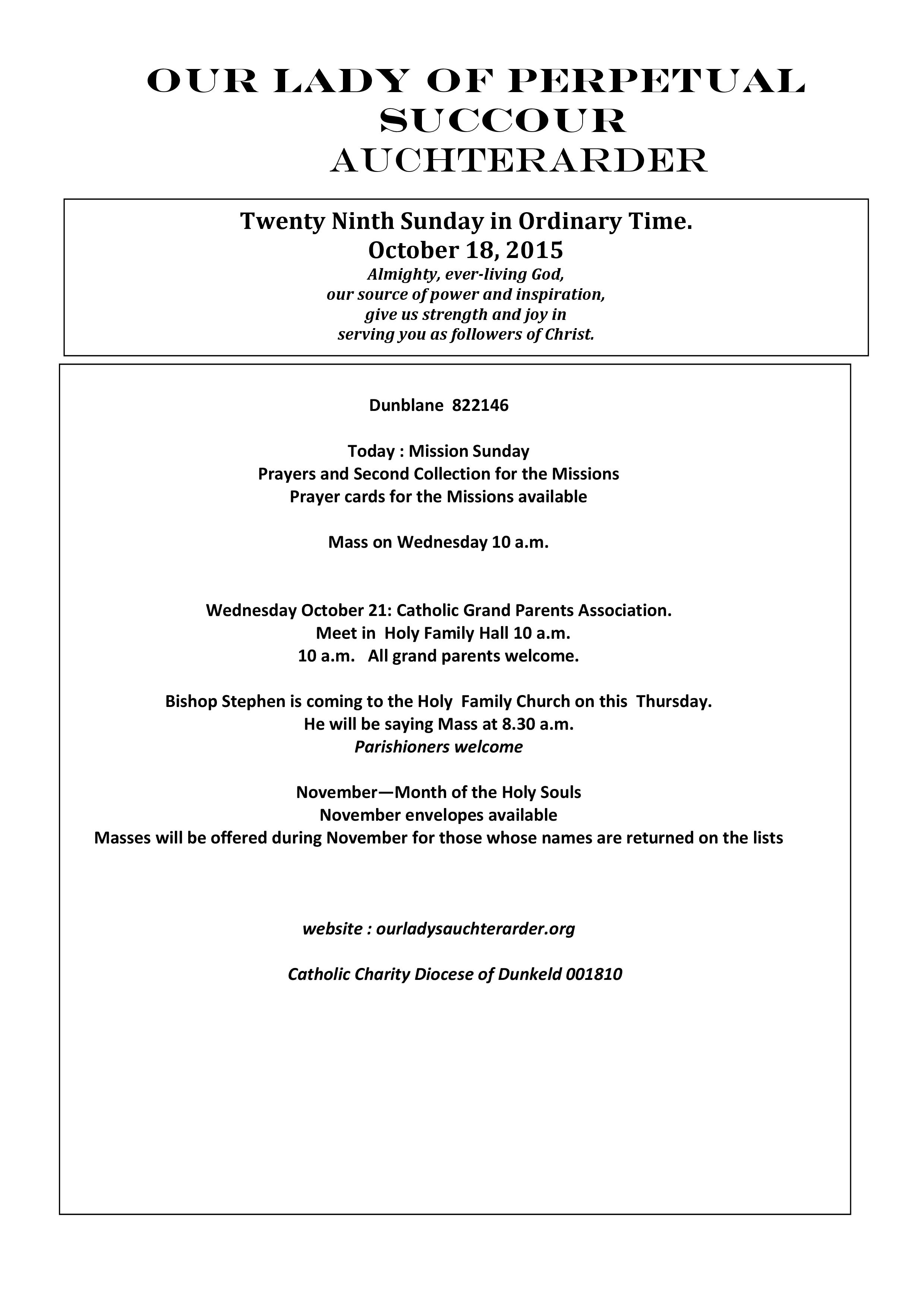 Parish Newsletter – 18/10/15