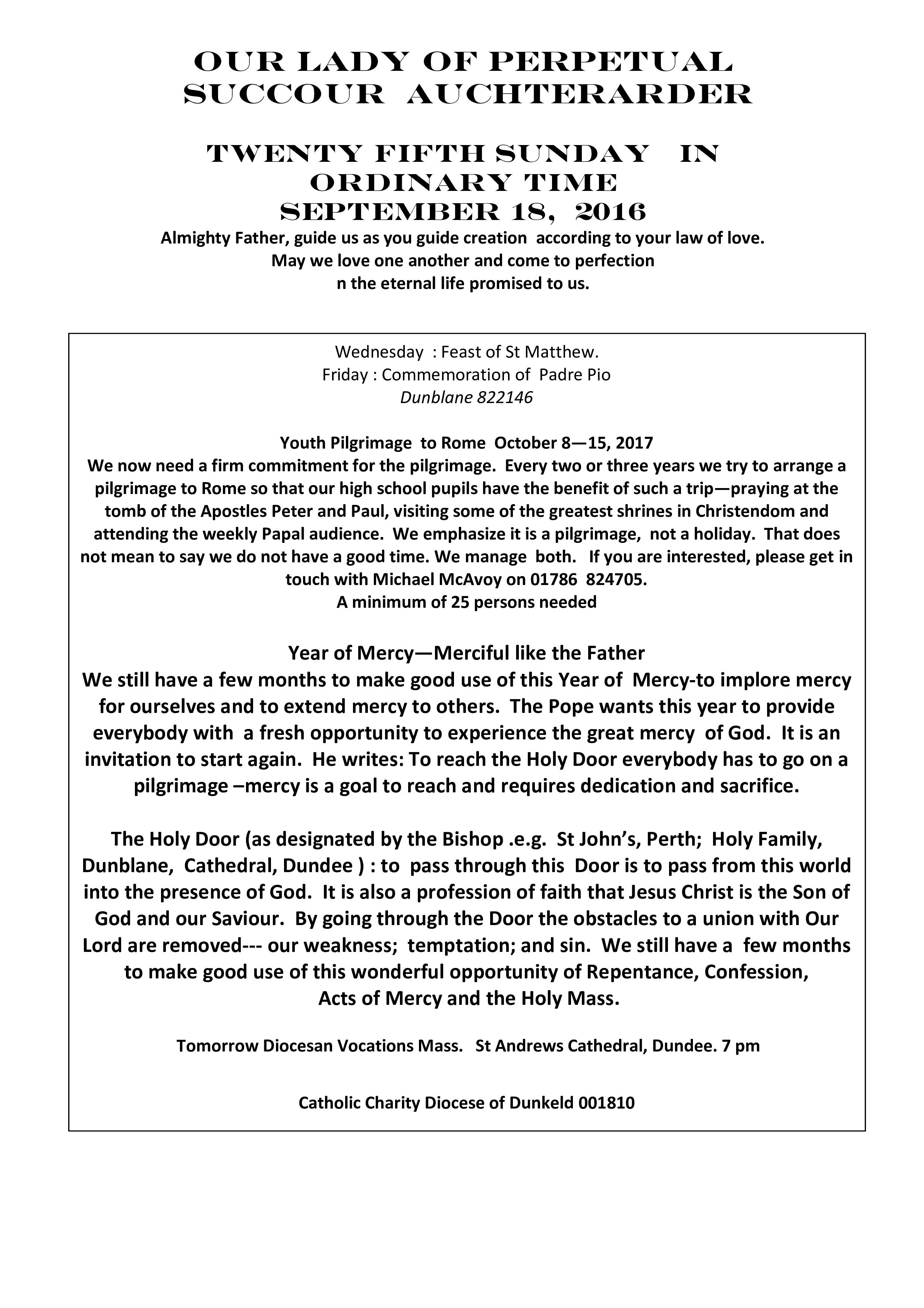 Parish Newsletter – 18/09/16
