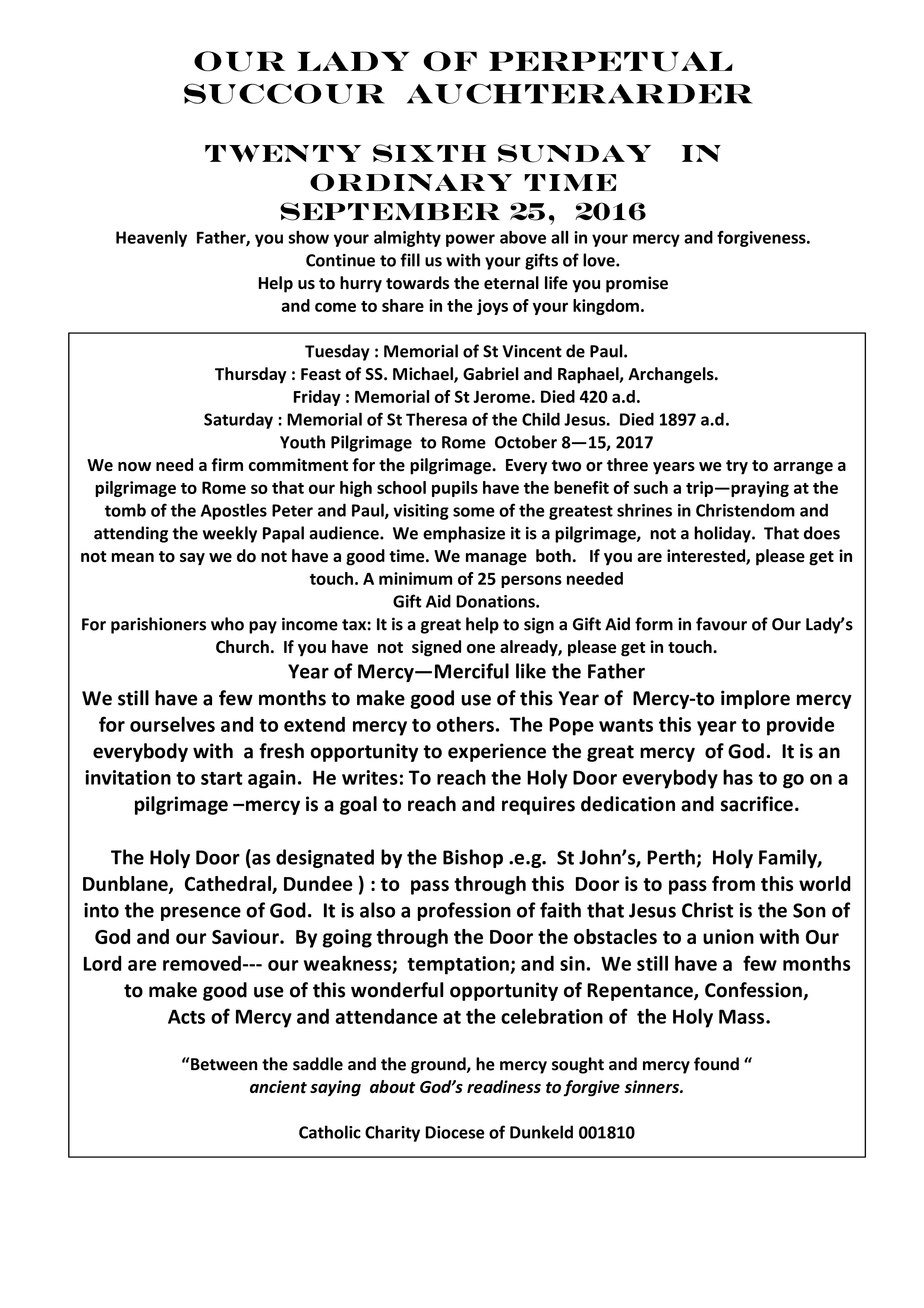 Parish Newsletter – 25/09/16