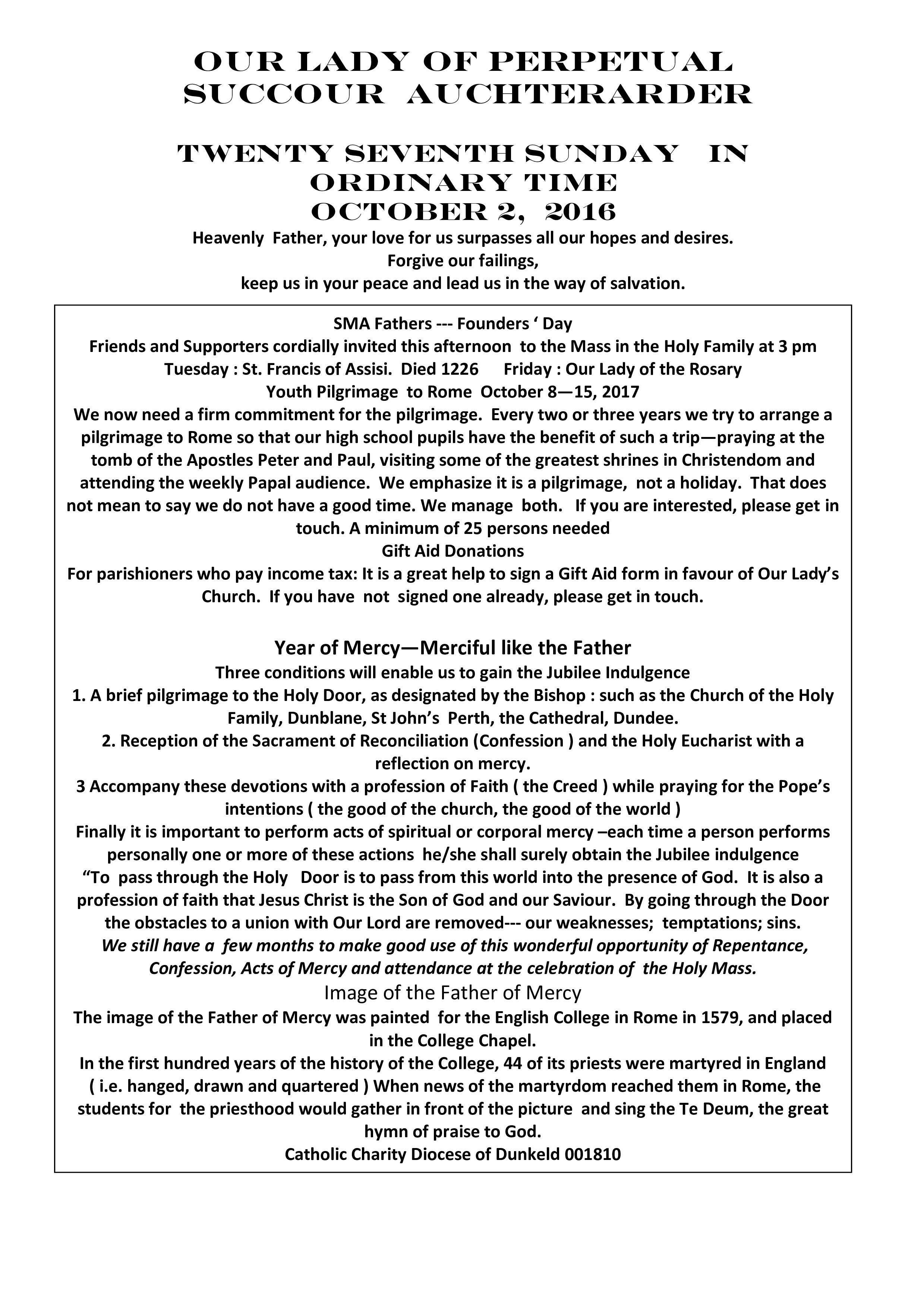 Parish Newsletter – 02/10/16