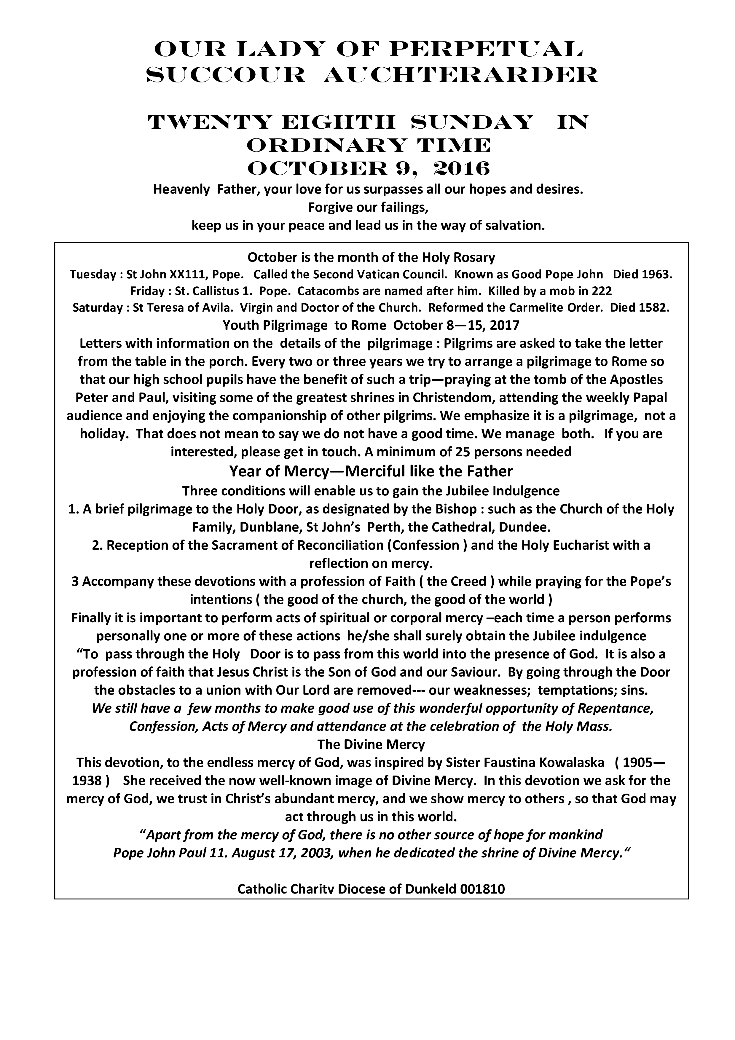 Parish Newsletter – 09/10/16