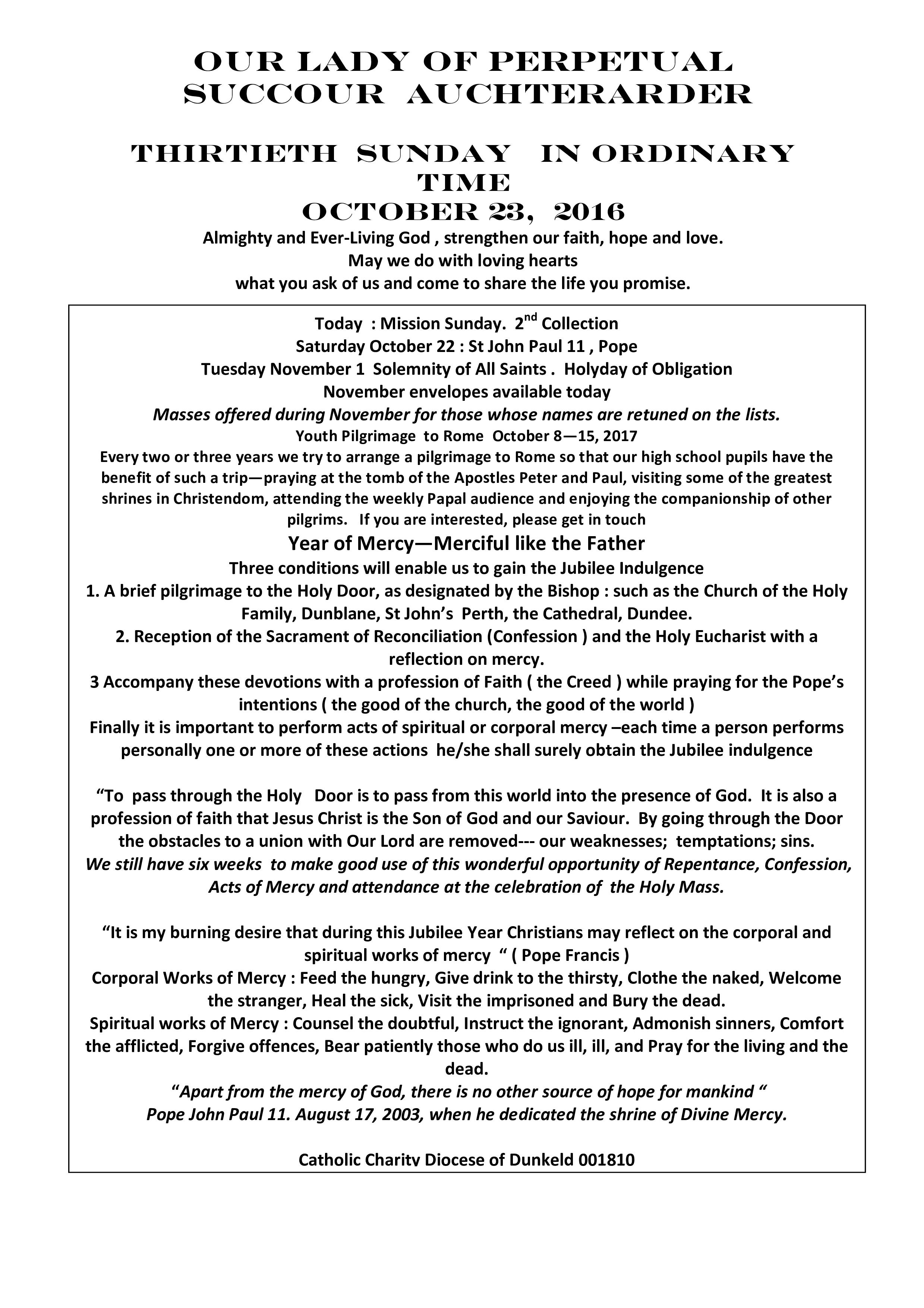 Parish Newsletter – 23/10/16