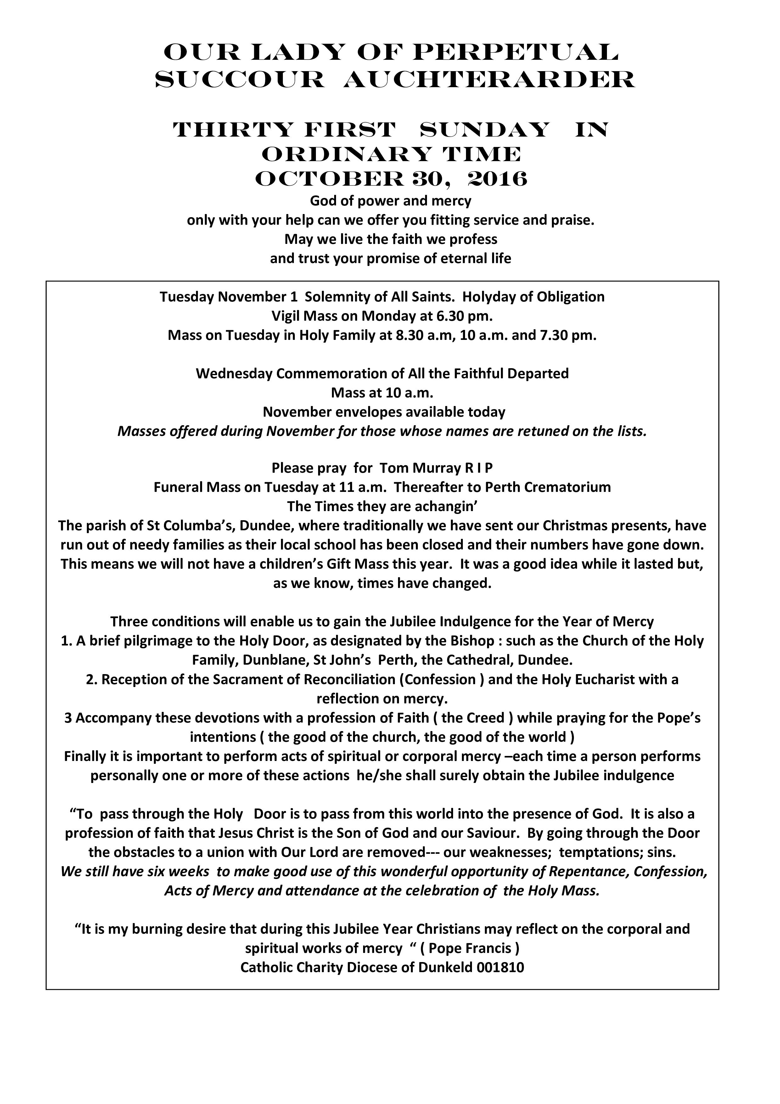 Parish Newsletter – 30/10/16