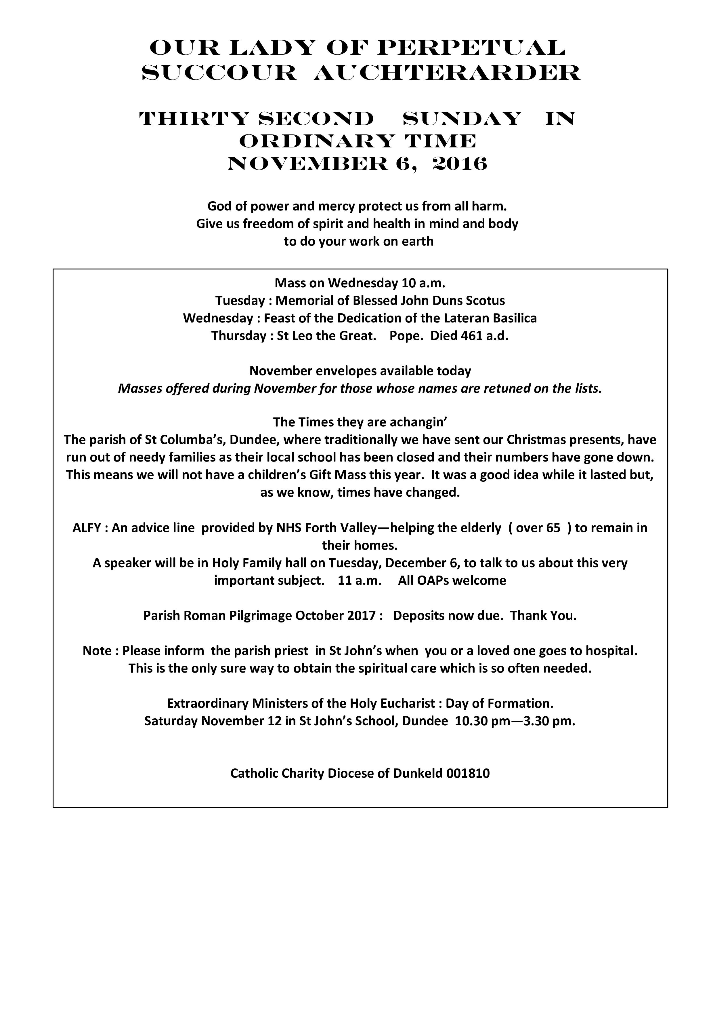 Parish Newsletter – 06/11/16