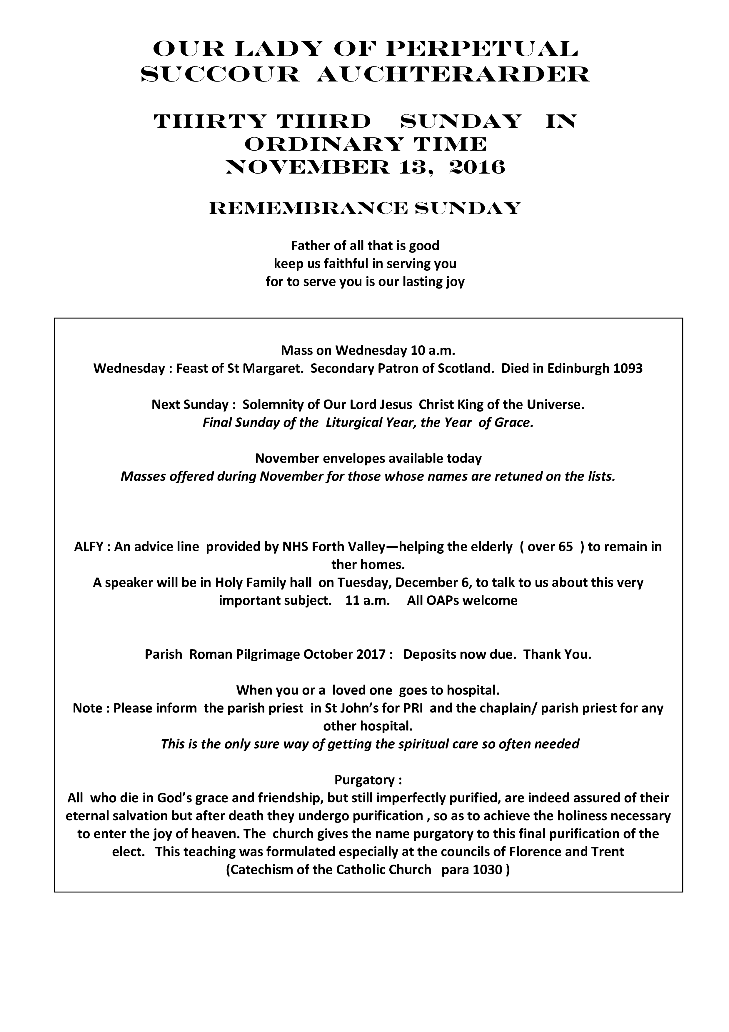 Parish Newsletter – 13/11/16