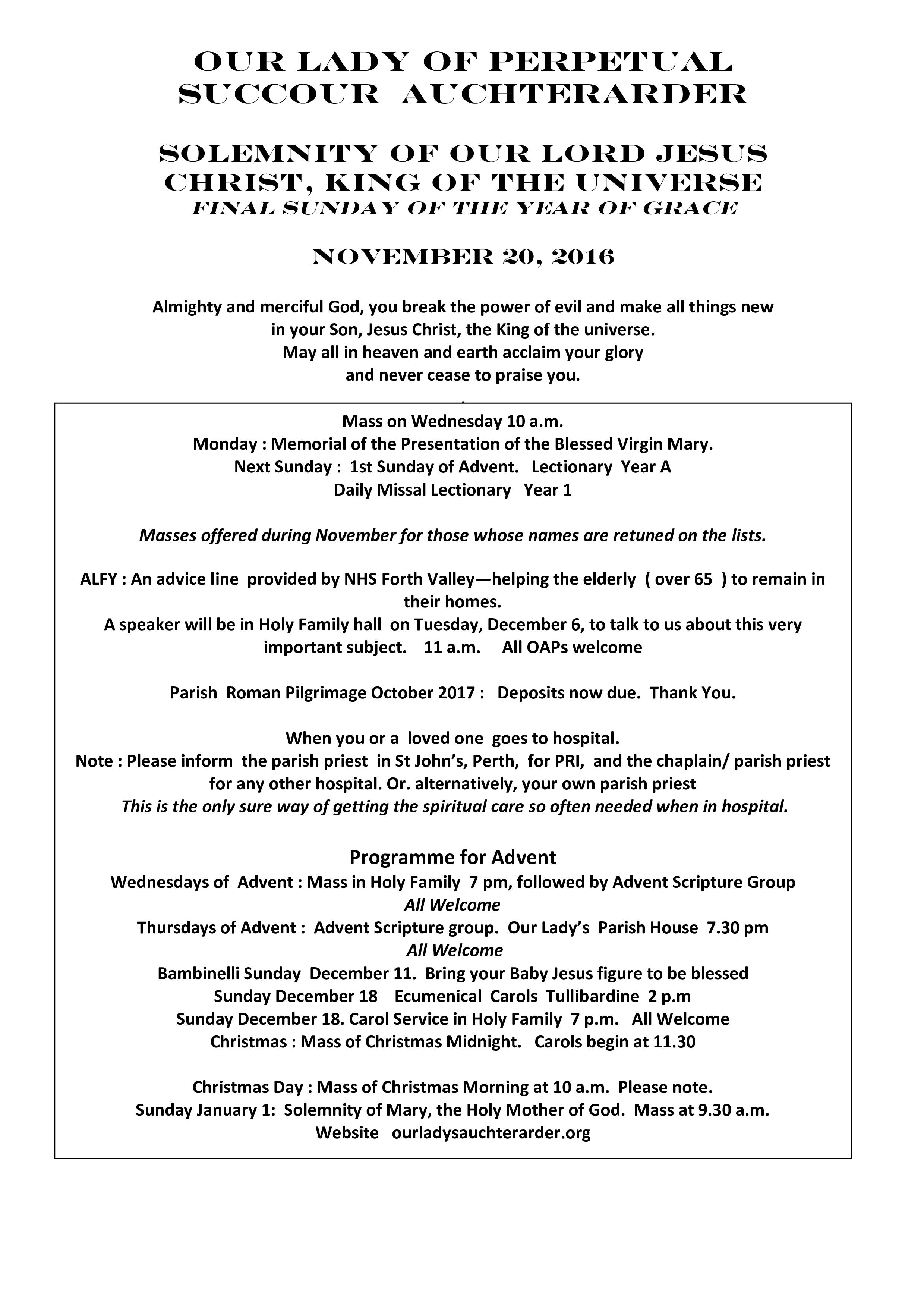 Parish Newsletter – 20/11/16