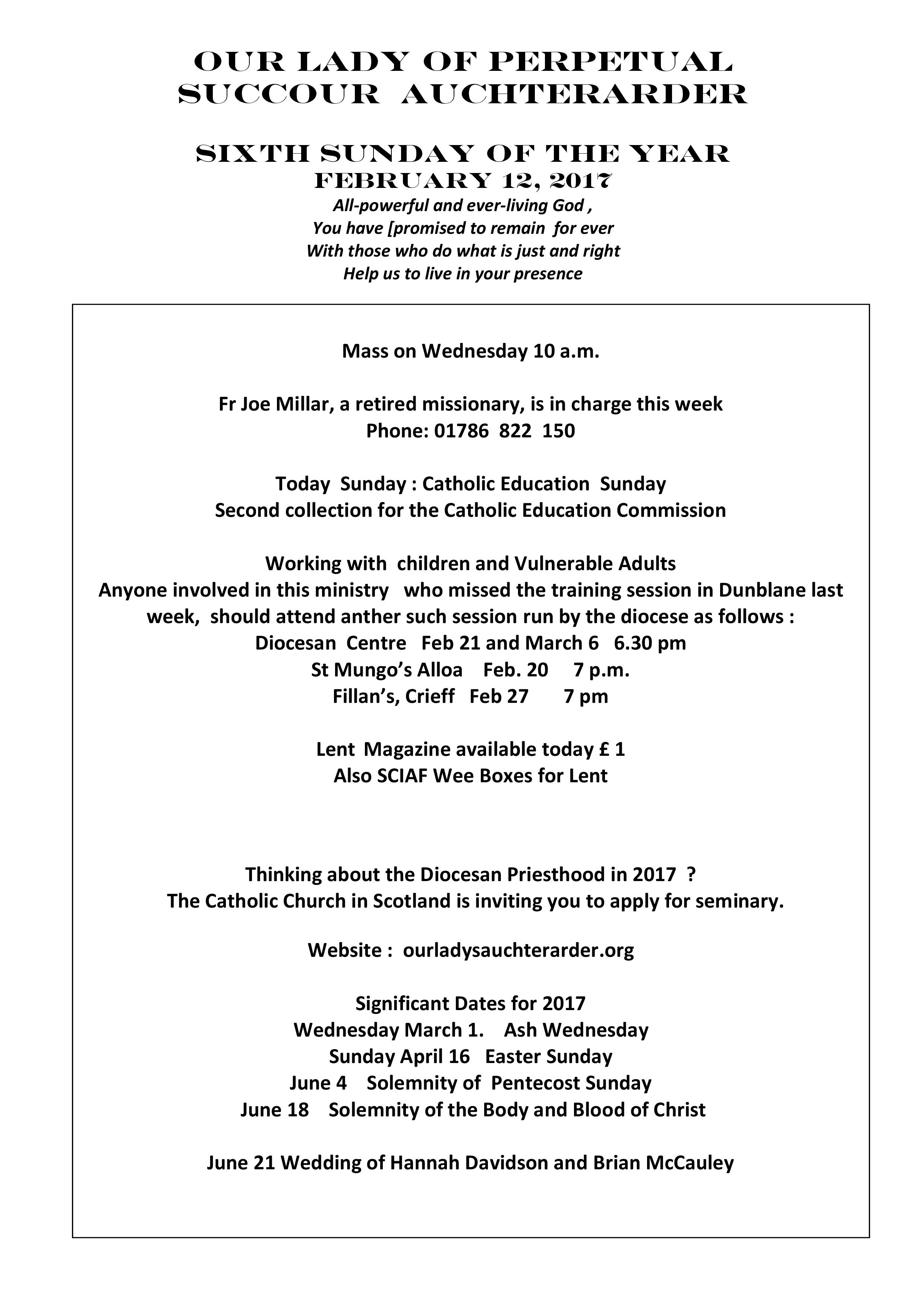 Parish Newsletter – 12/02/17