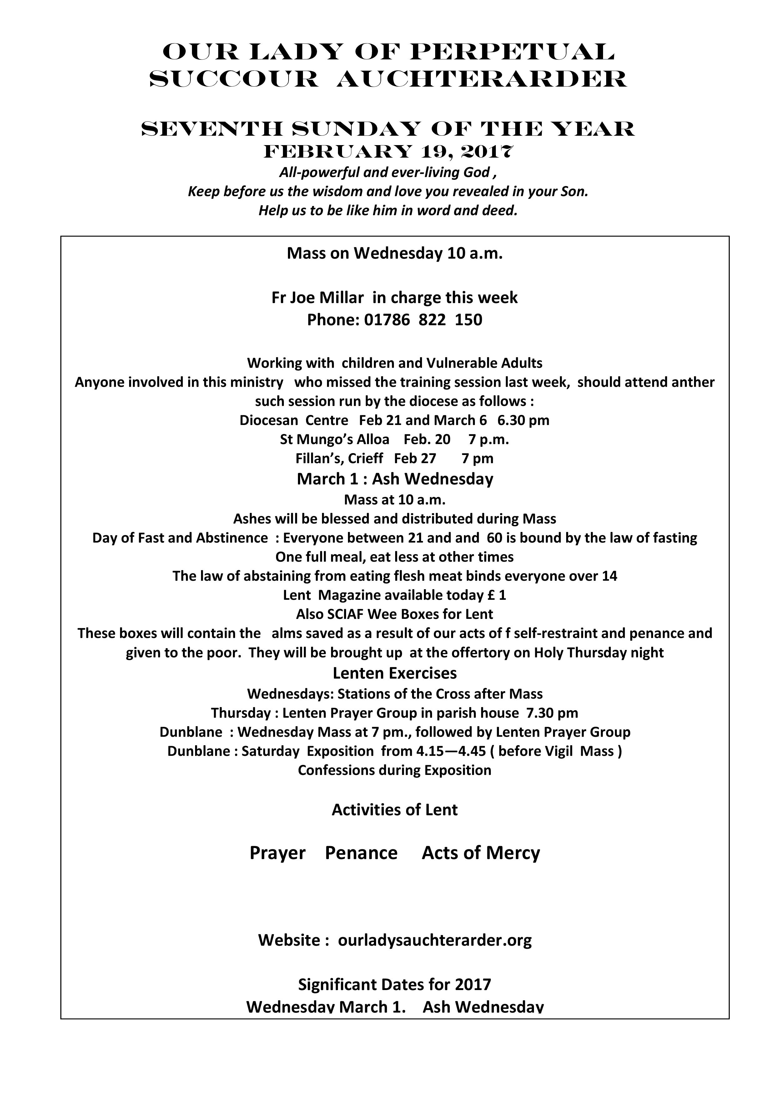 Parish Newsletter – 19/02/17