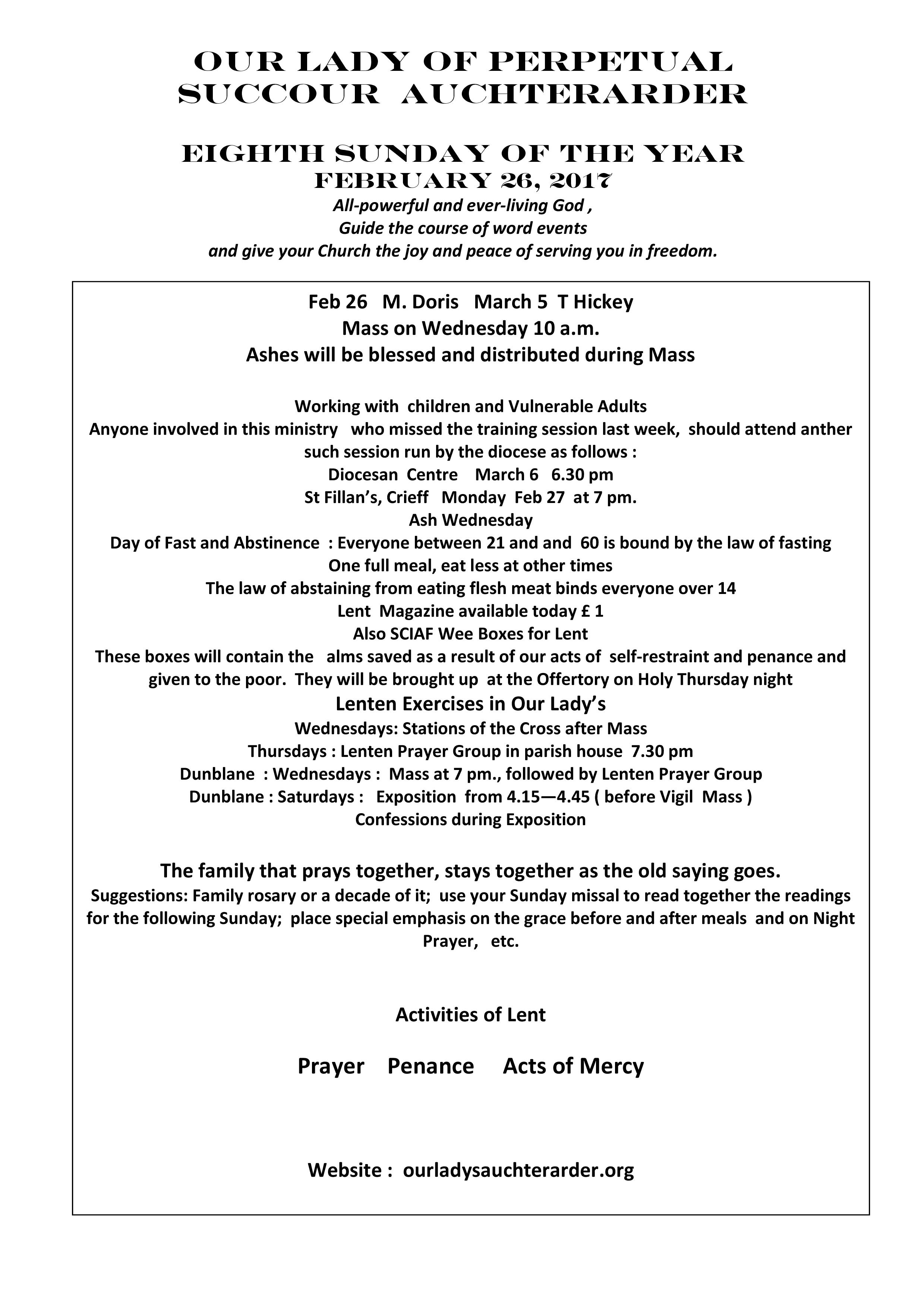 Parish Newsletter – 26/02/17