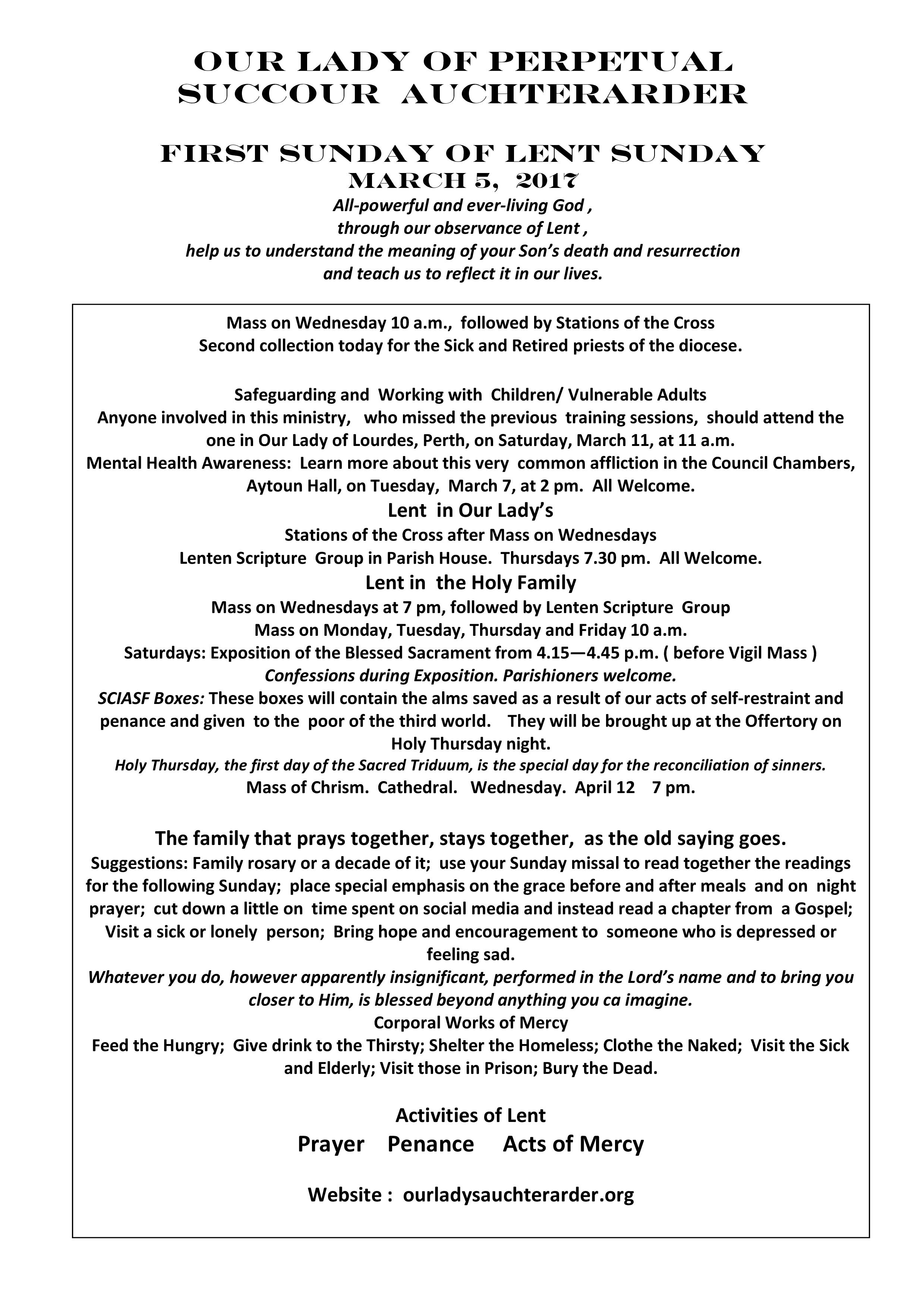 Parish Newsletter – 05/03/17