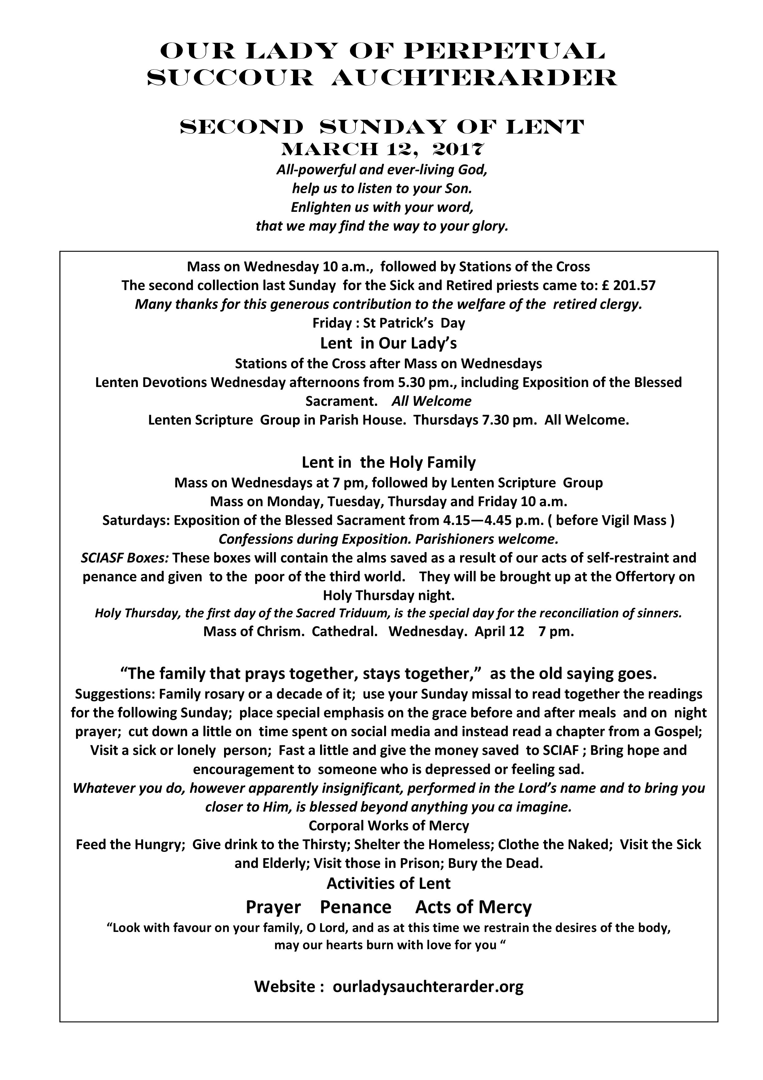 Parish Newsletter – 12/03/17