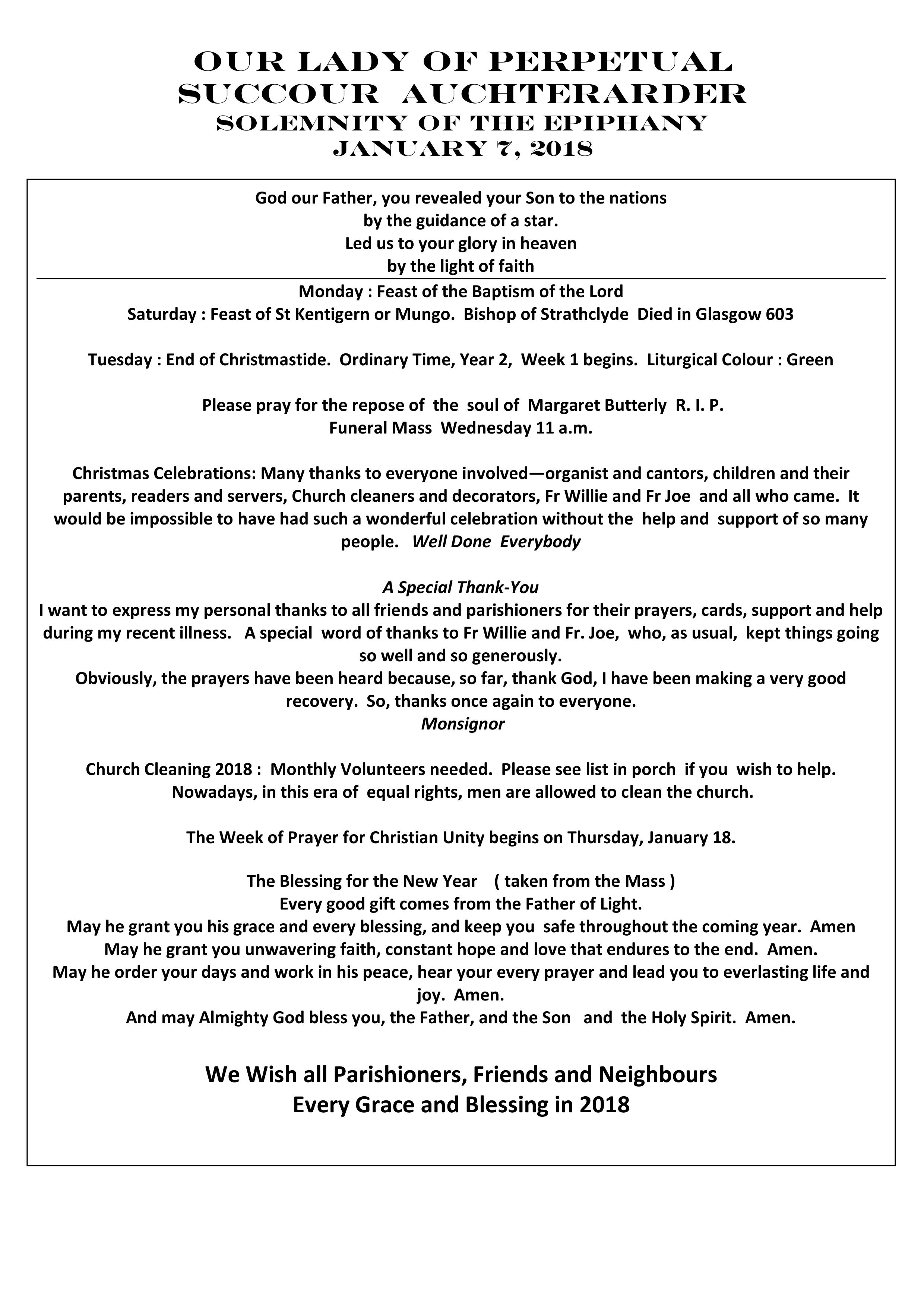 Parish Newsletter – 07/01/18