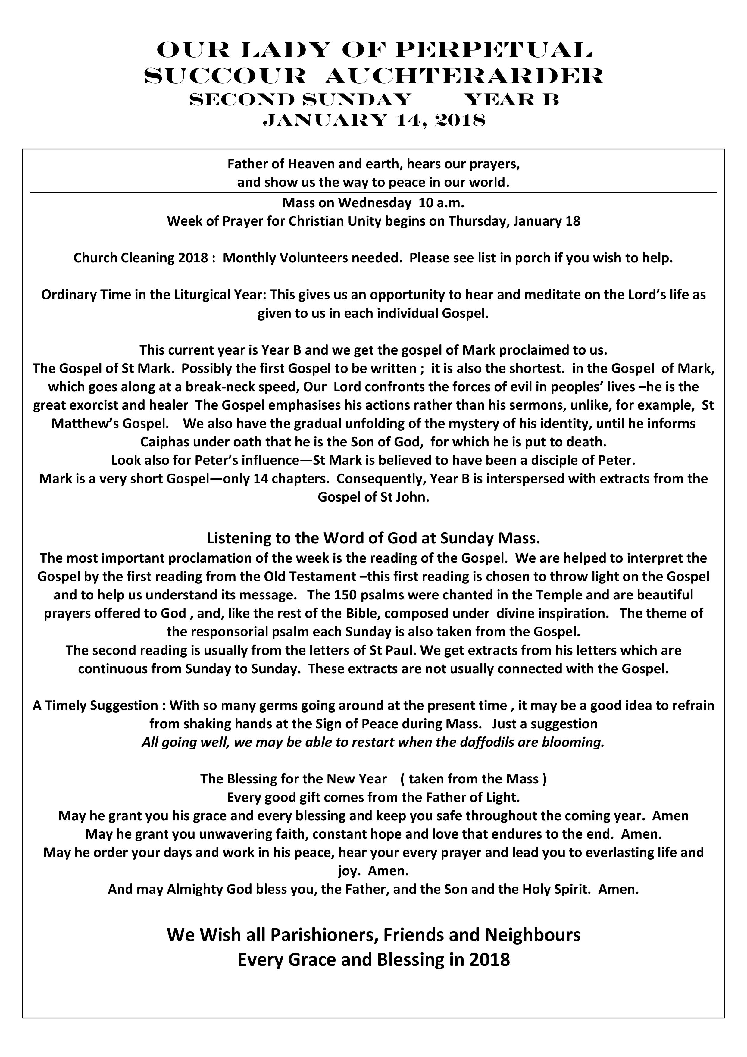 Parish Newsletter – 14/01/18