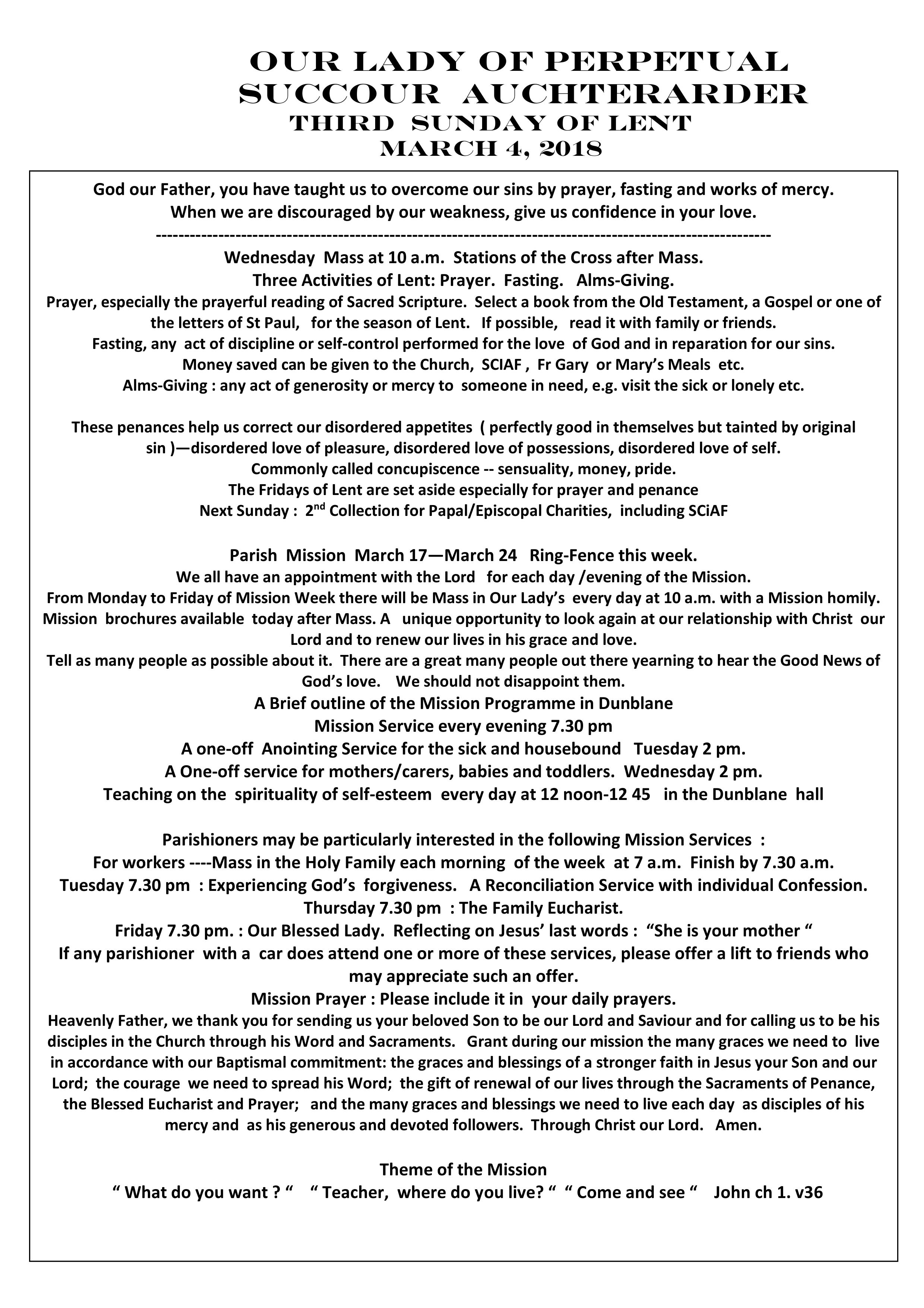 Parish Newsletter – 04/03/18