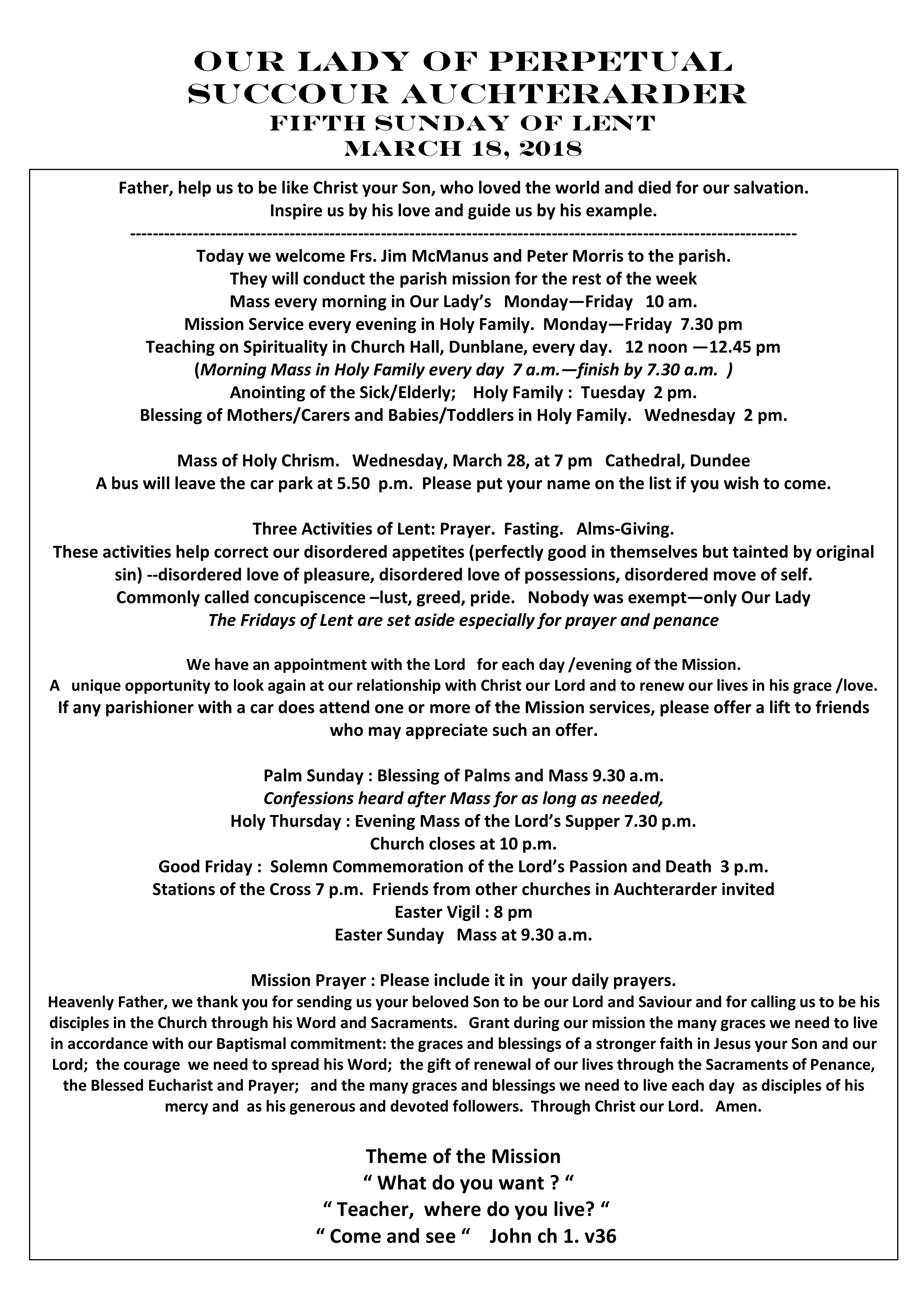 Parish Newsletter – 18/03/18