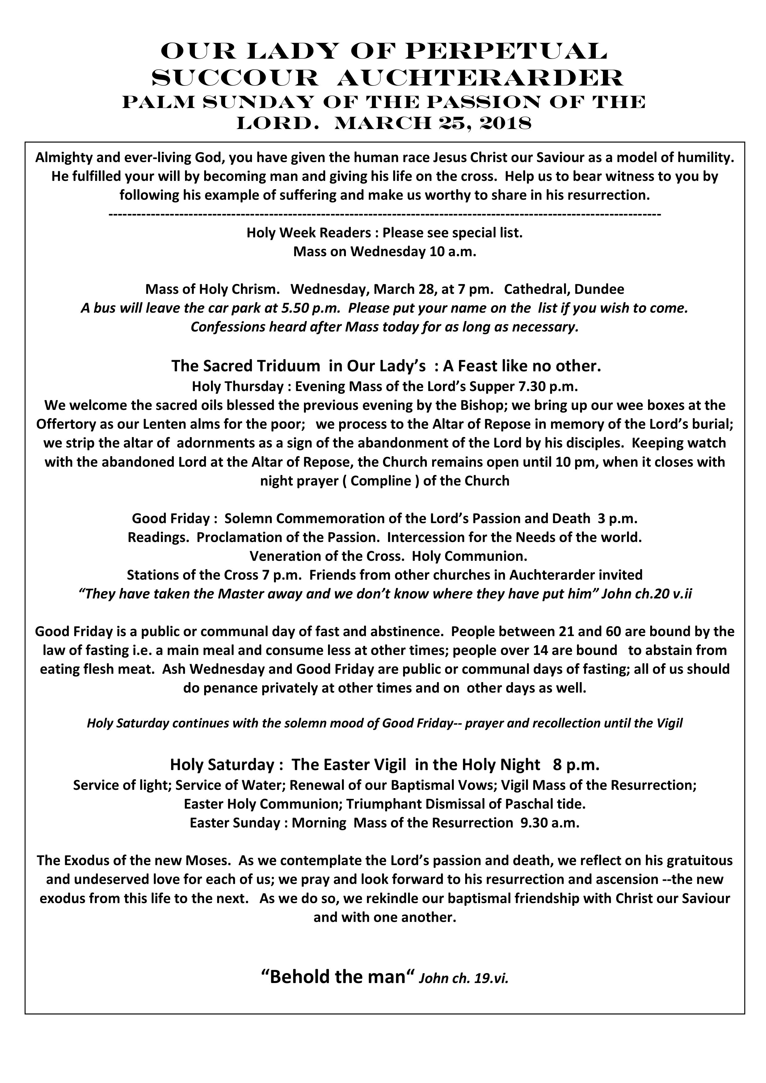 Parish Newsletter – 25/03/18
