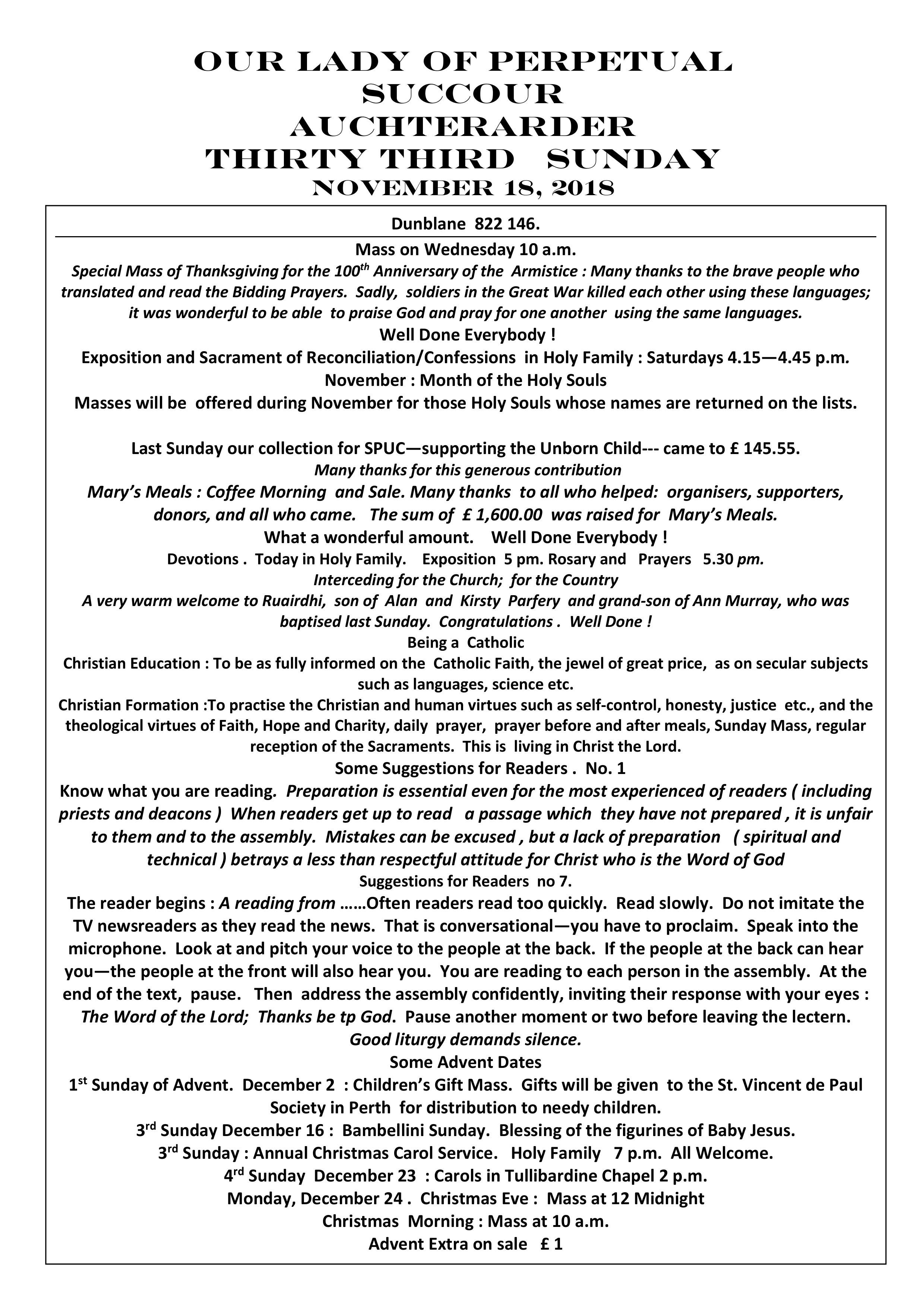 Parish Newsletter – 18/11/18