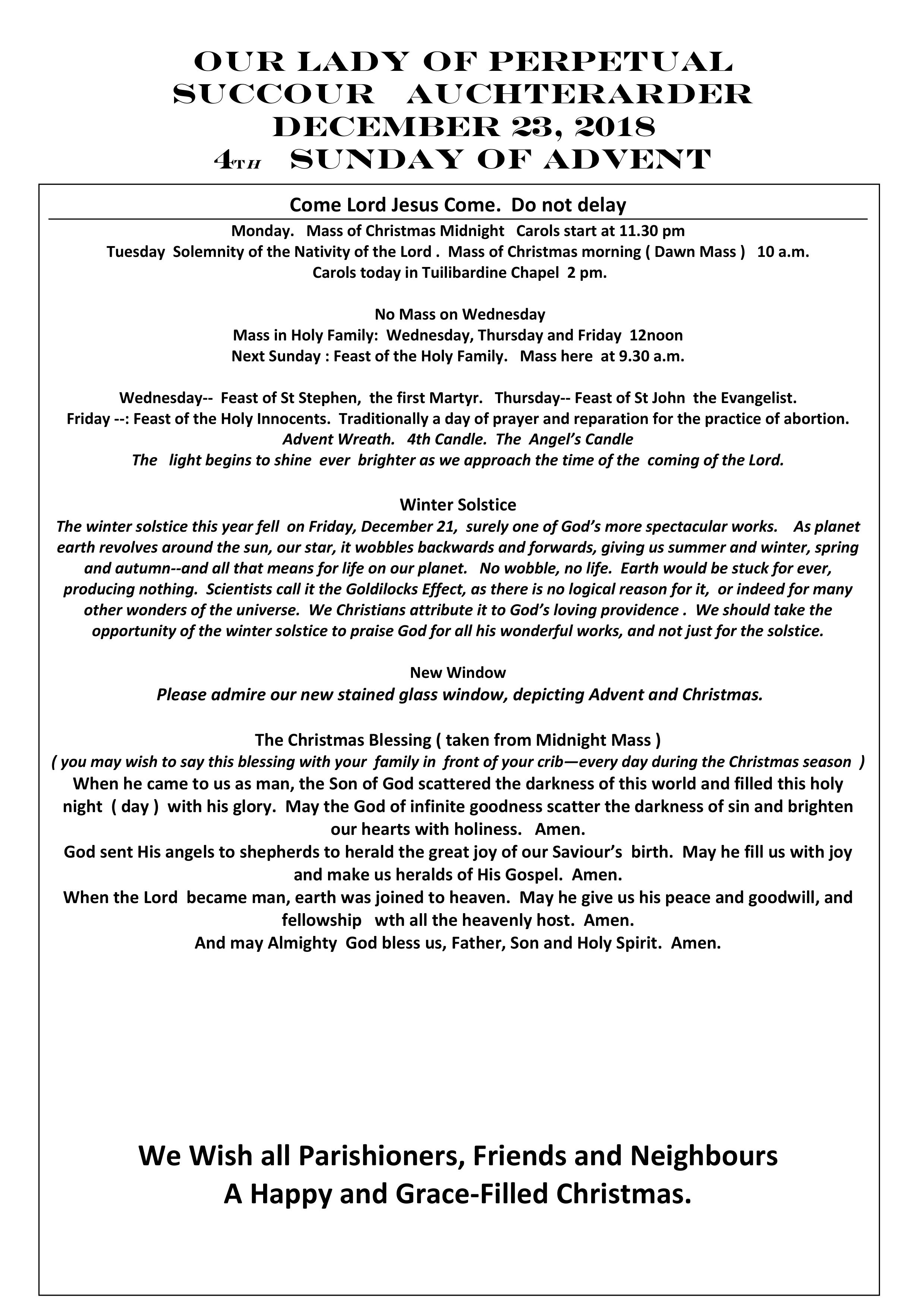 Parish Newsletter – 23/12/18