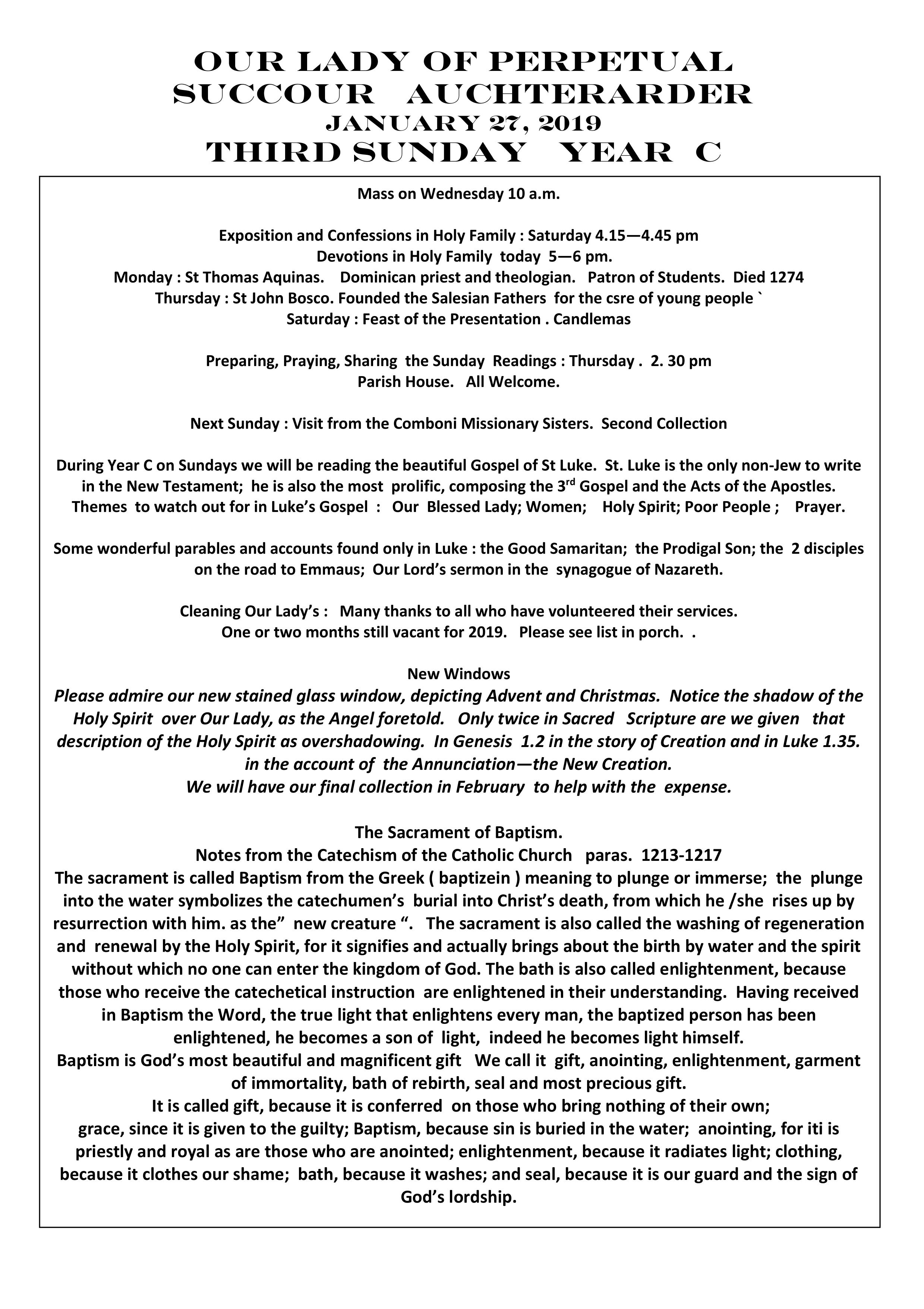 Parish Newsletter – 27/01/19