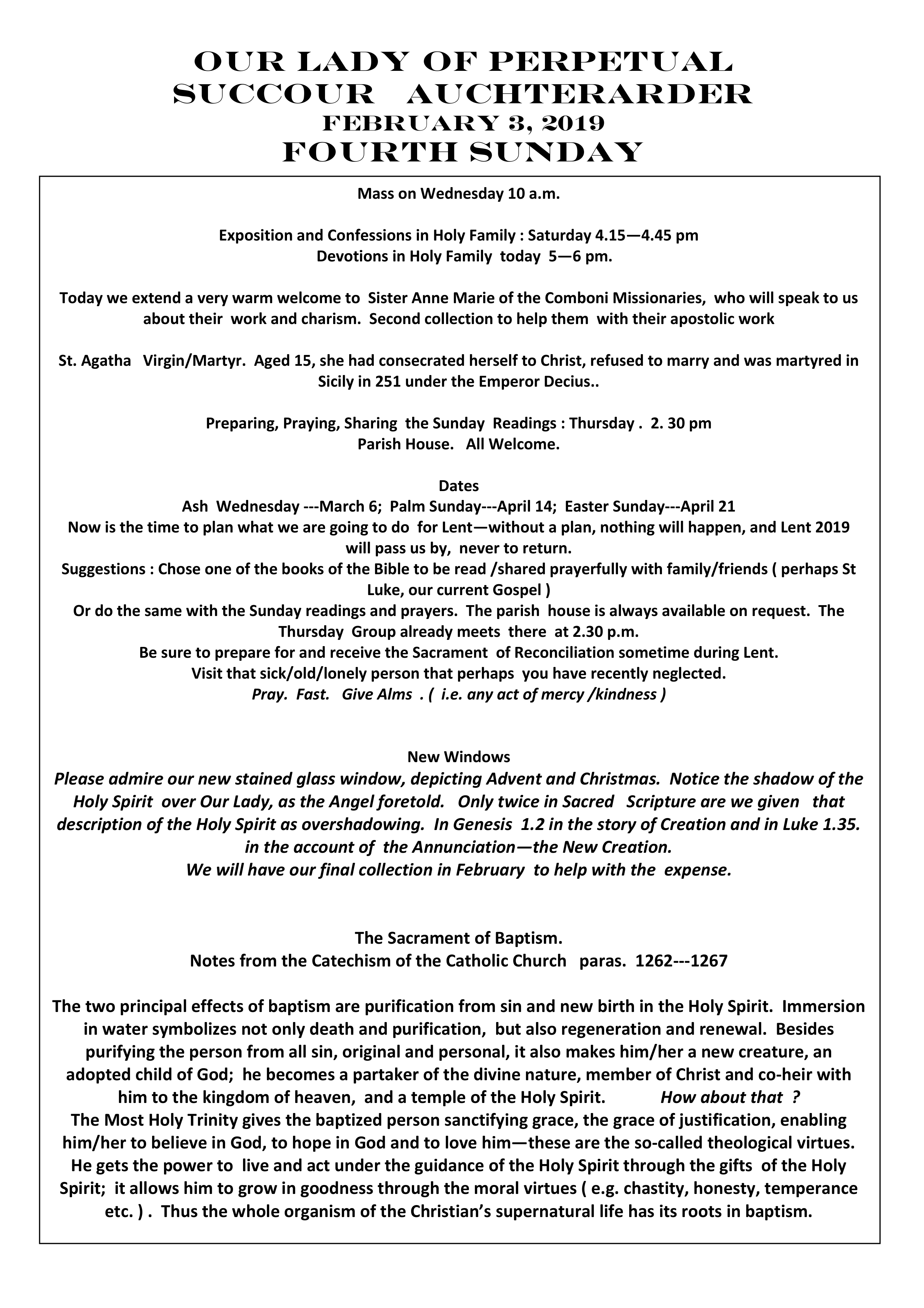 Parish Newsletter – 03/02/19