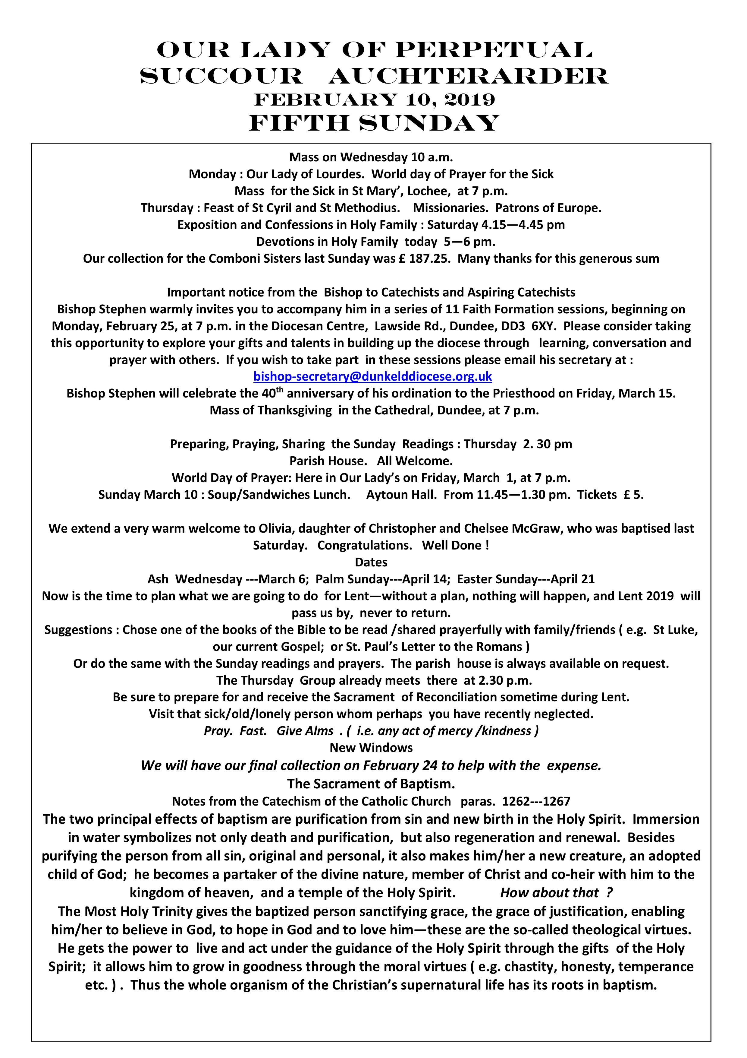 Parish Newsletter – 10/02/19