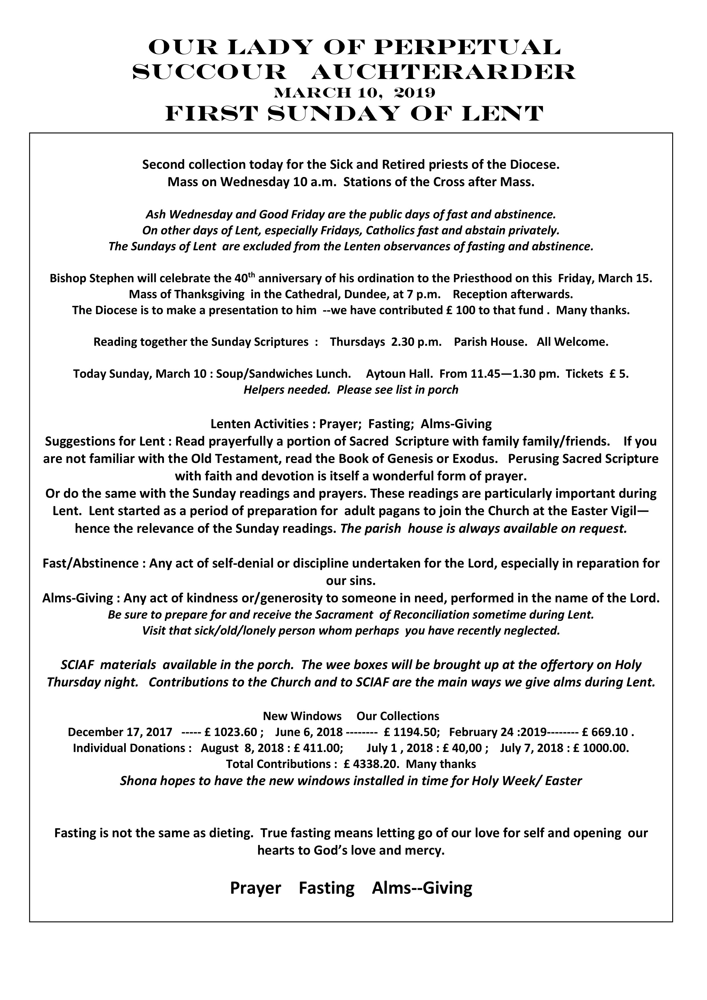 Parish Newsletter – 10/03/19