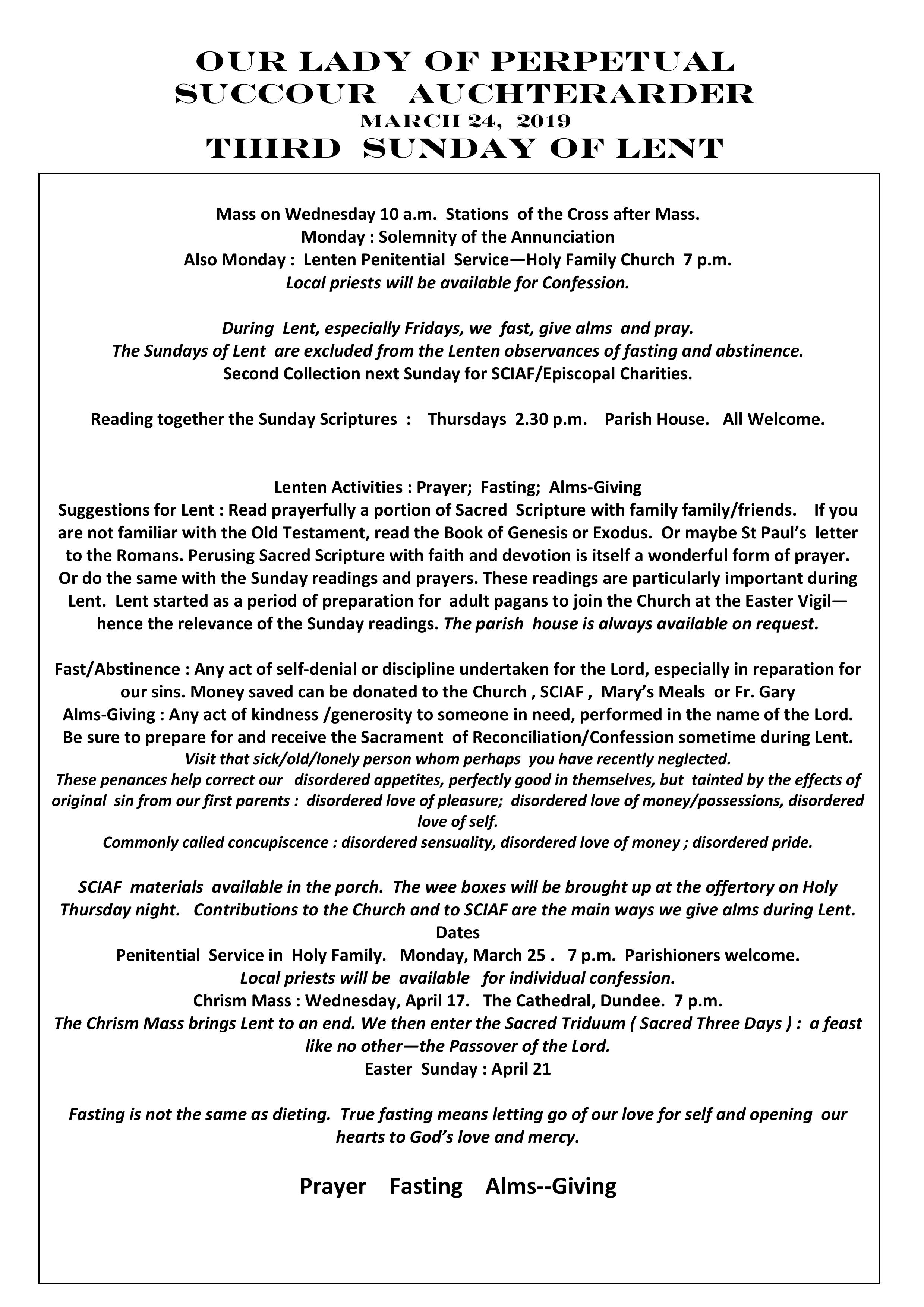 Parish Newsletter – 24/03/19