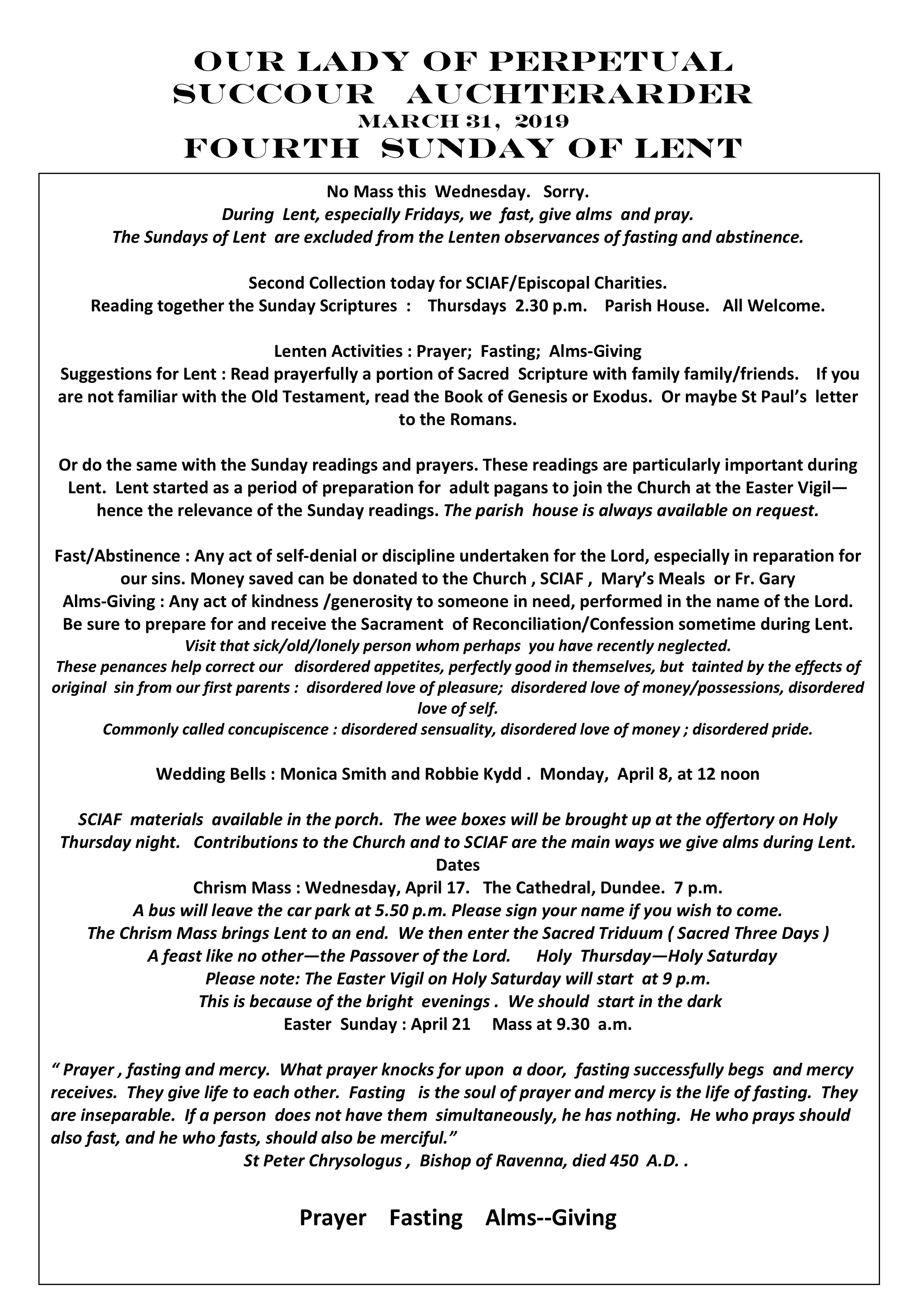 Parish Newsletter – 31/03/19