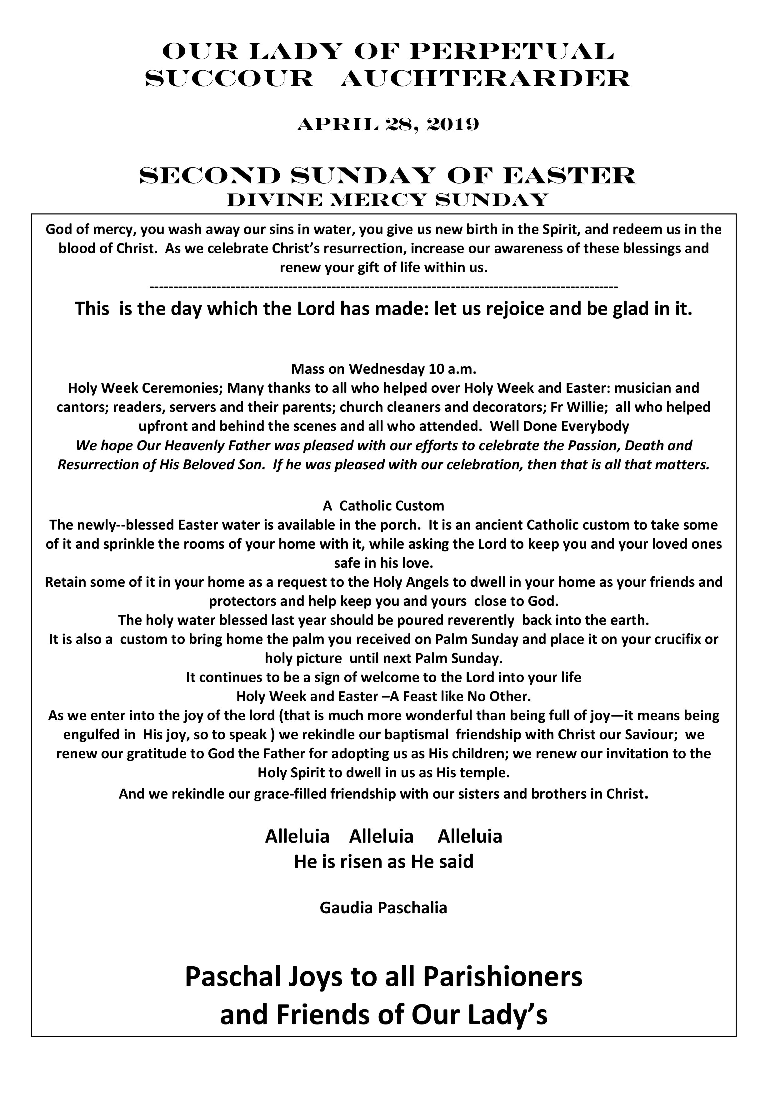 Parish Newsletter – 28/04/19