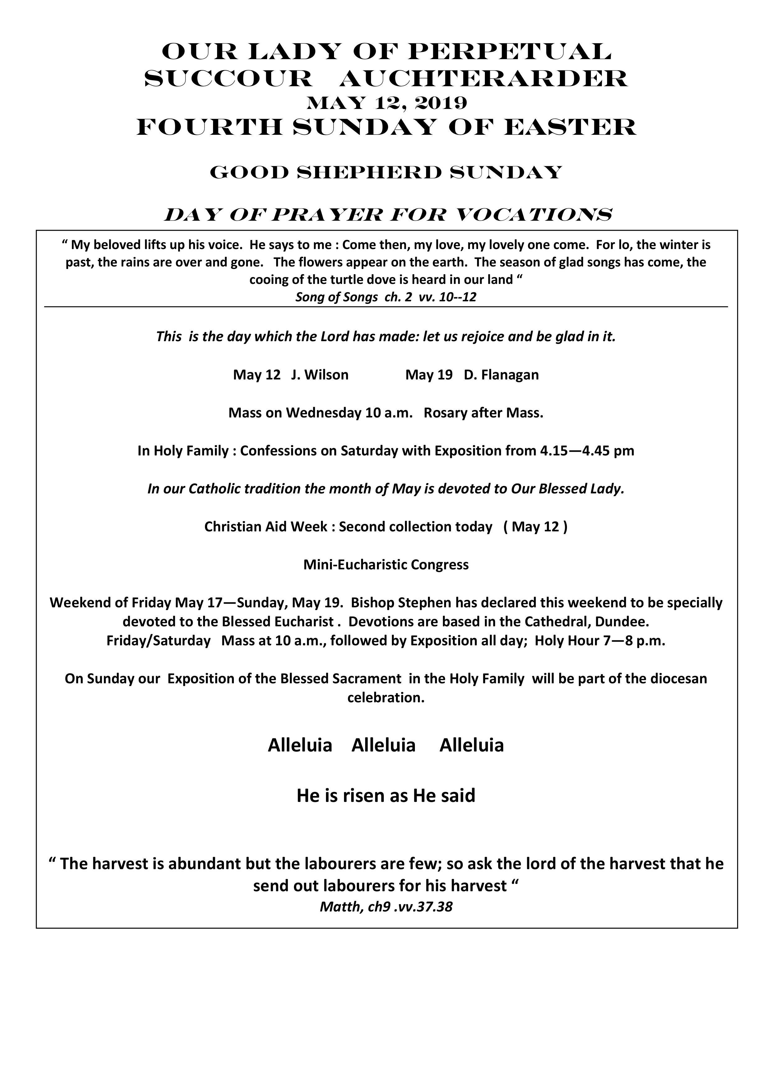 Parish newsletter – 12/05/19