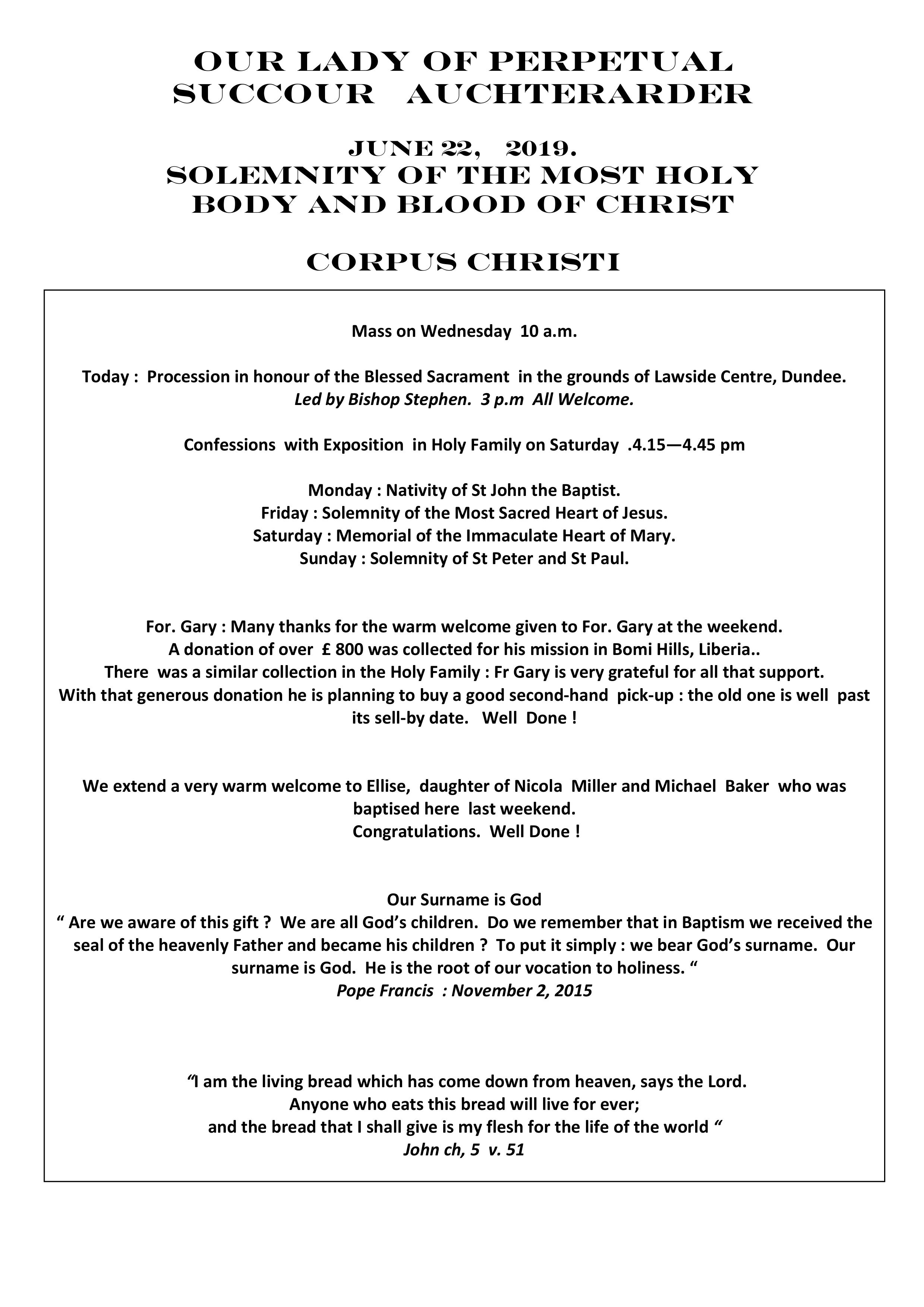 Parish Newsletter – 23/06/19