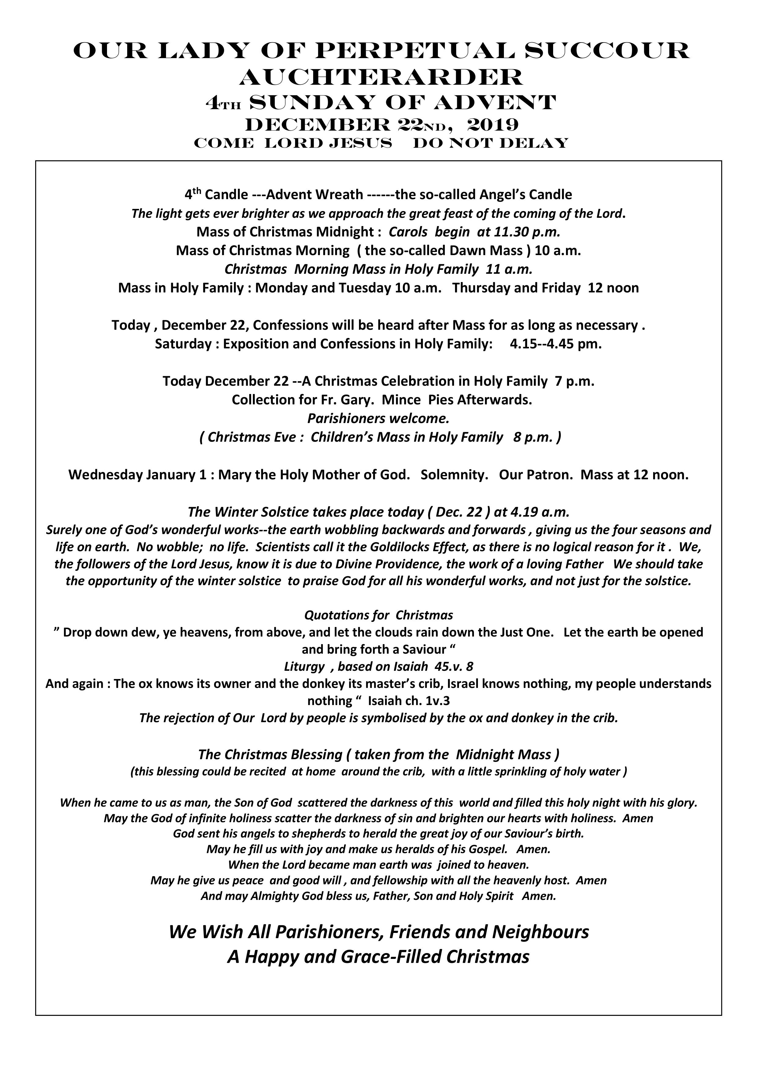 Parish Newsletter – 22/12/19